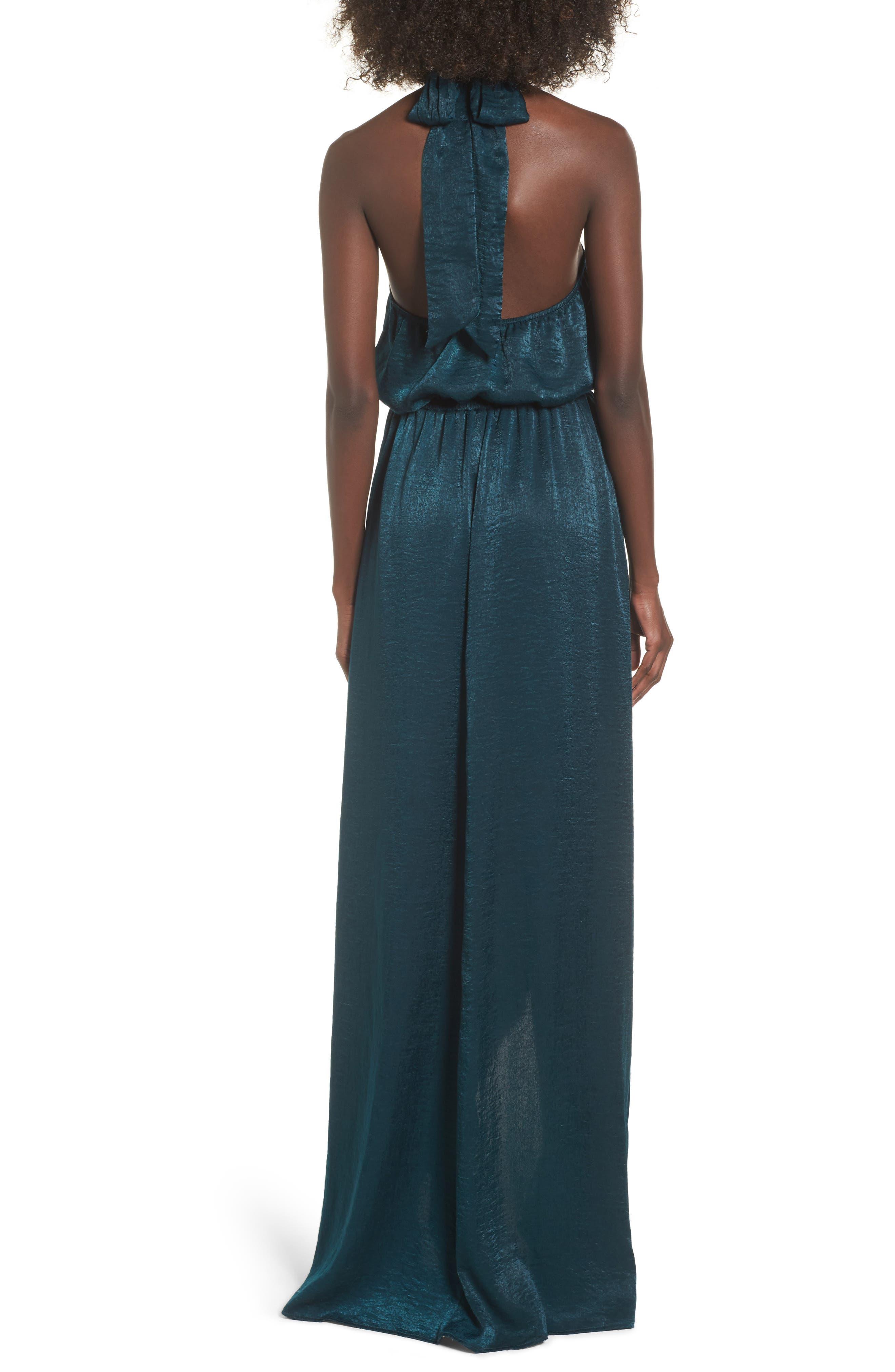 Karolina Halter Maxi Dress,                             Alternate thumbnail 2, color,                             Dark Forest