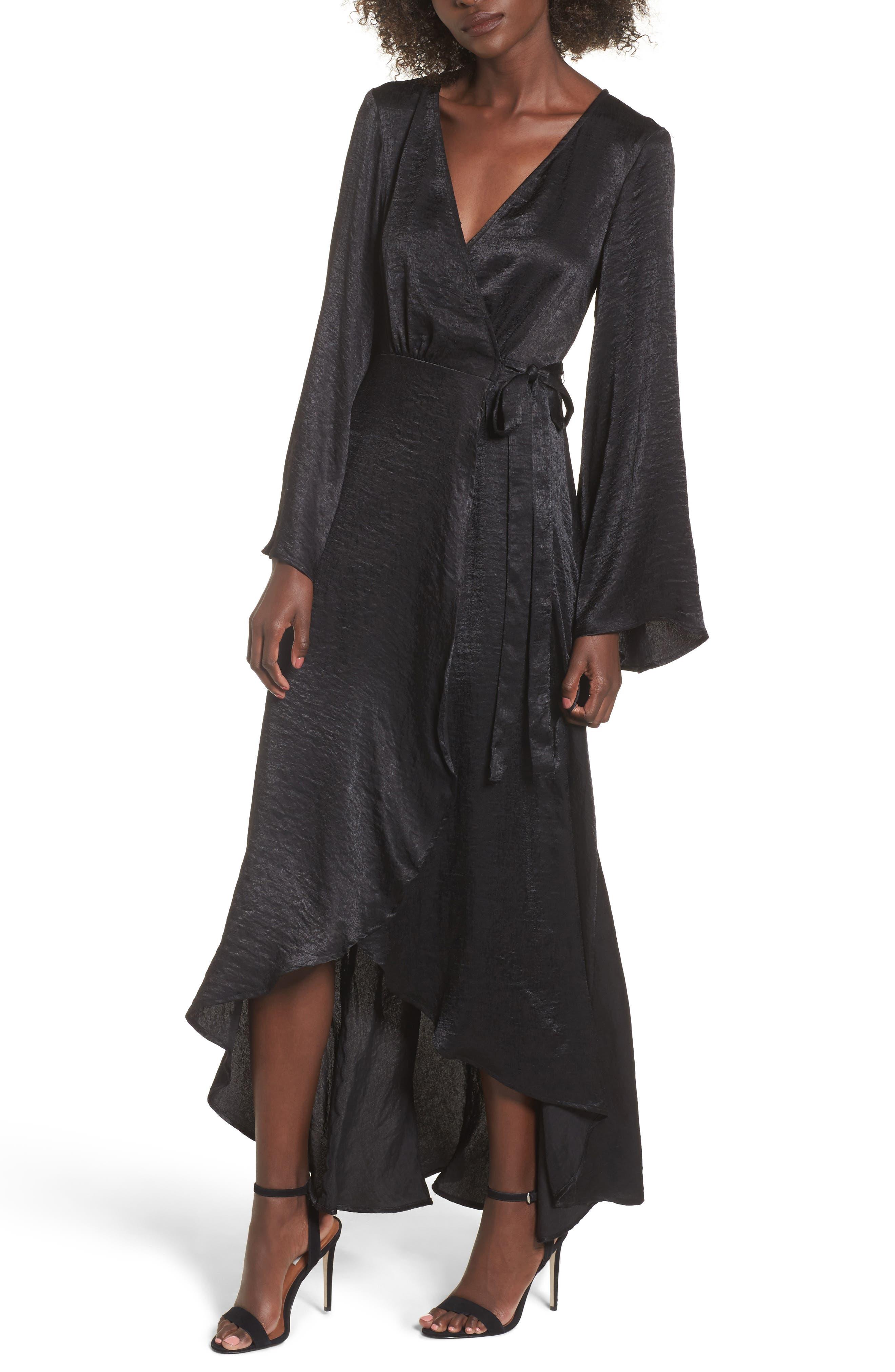 Anita Wrap Maxi Dress,                         Main,                         color, Black Silky Satin
