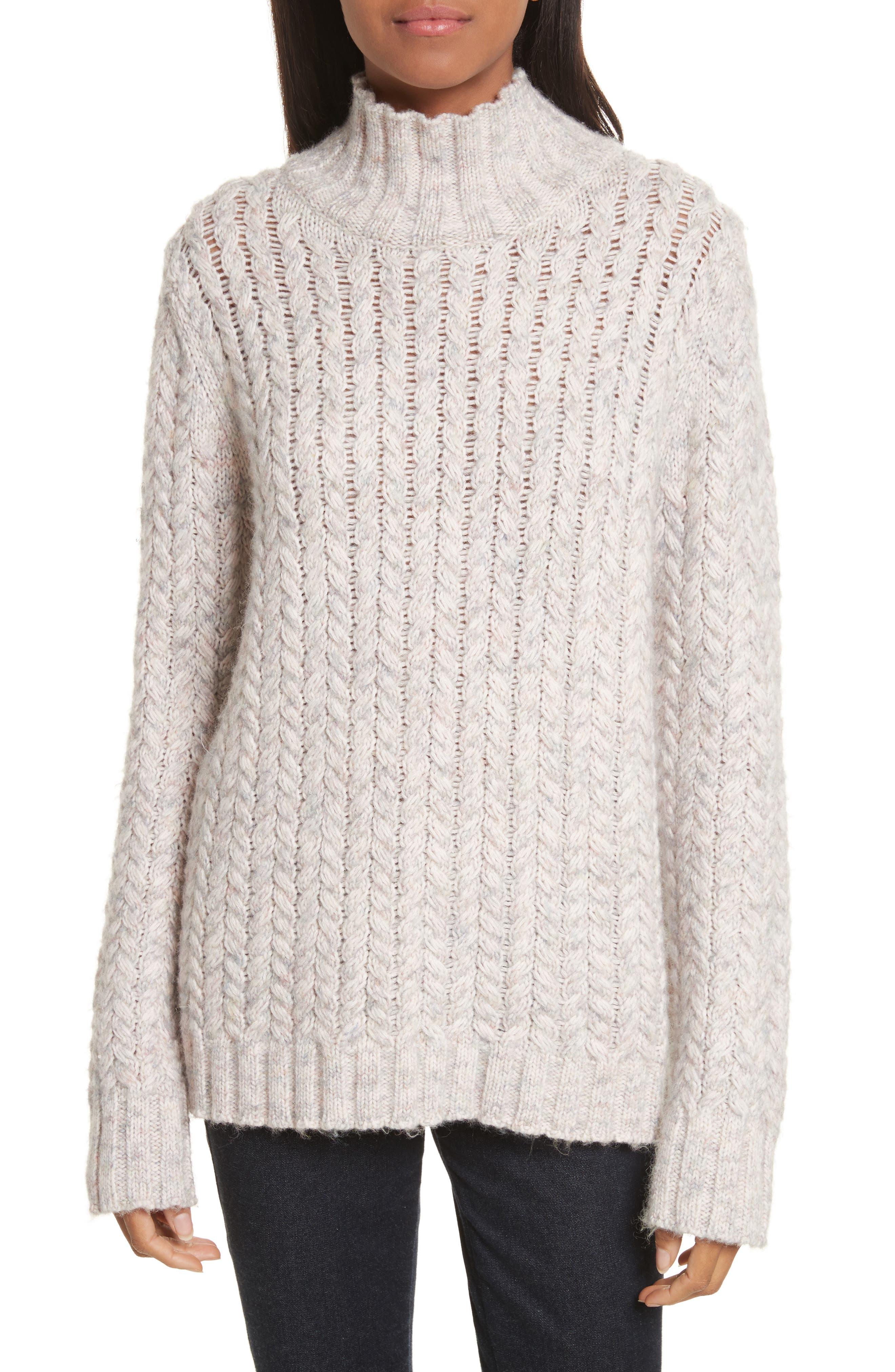 La Vie Rebecca Taylor Marled Cable Knit Pullover