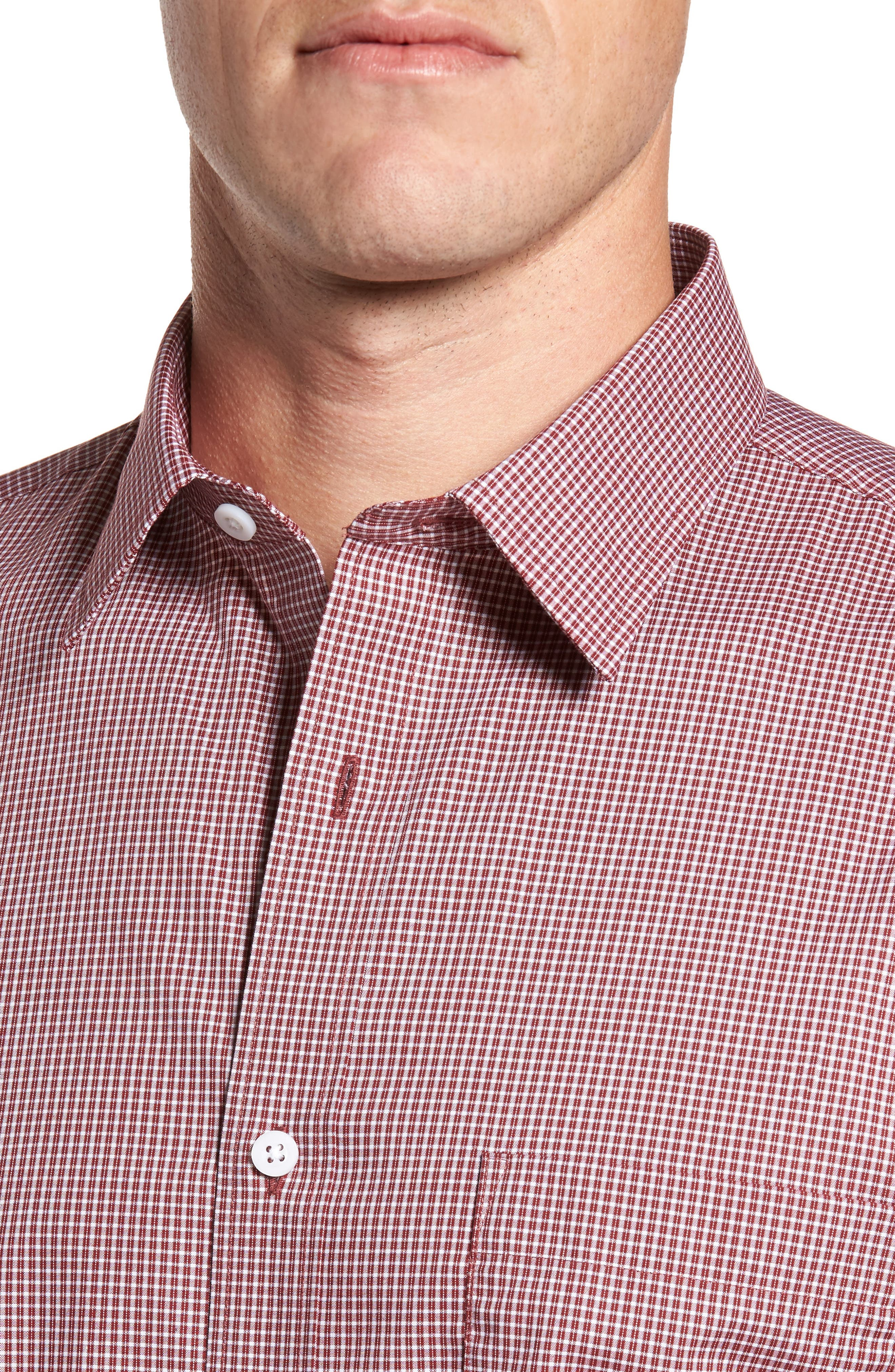 Non-Iron Microcheck Sport Shirt,                             Alternate thumbnail 4, color,                             Red Ruby White Micro Check