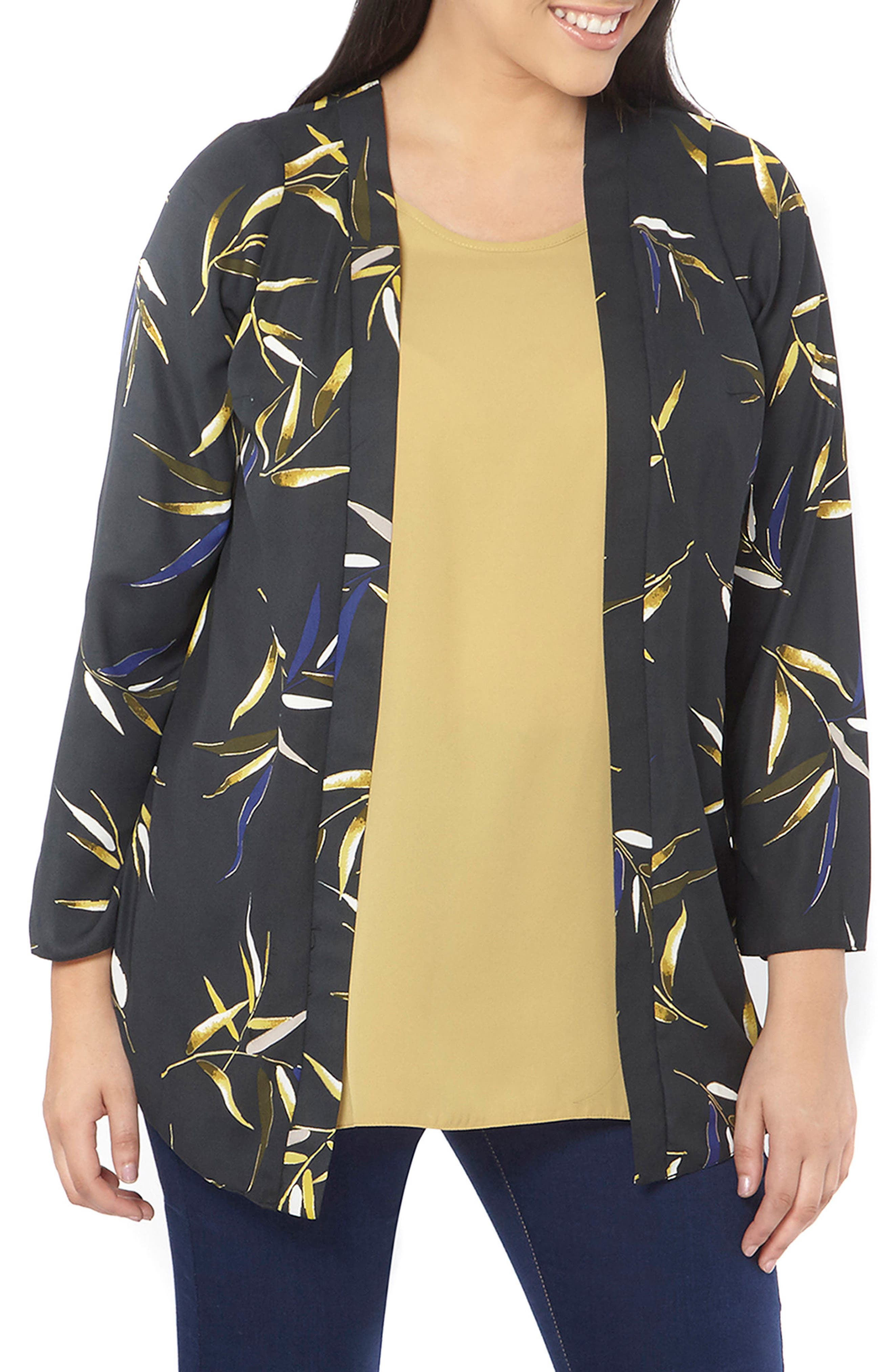 Main Image - Evans Foiled Leaf Print Kimono Jacket (Plus Size)