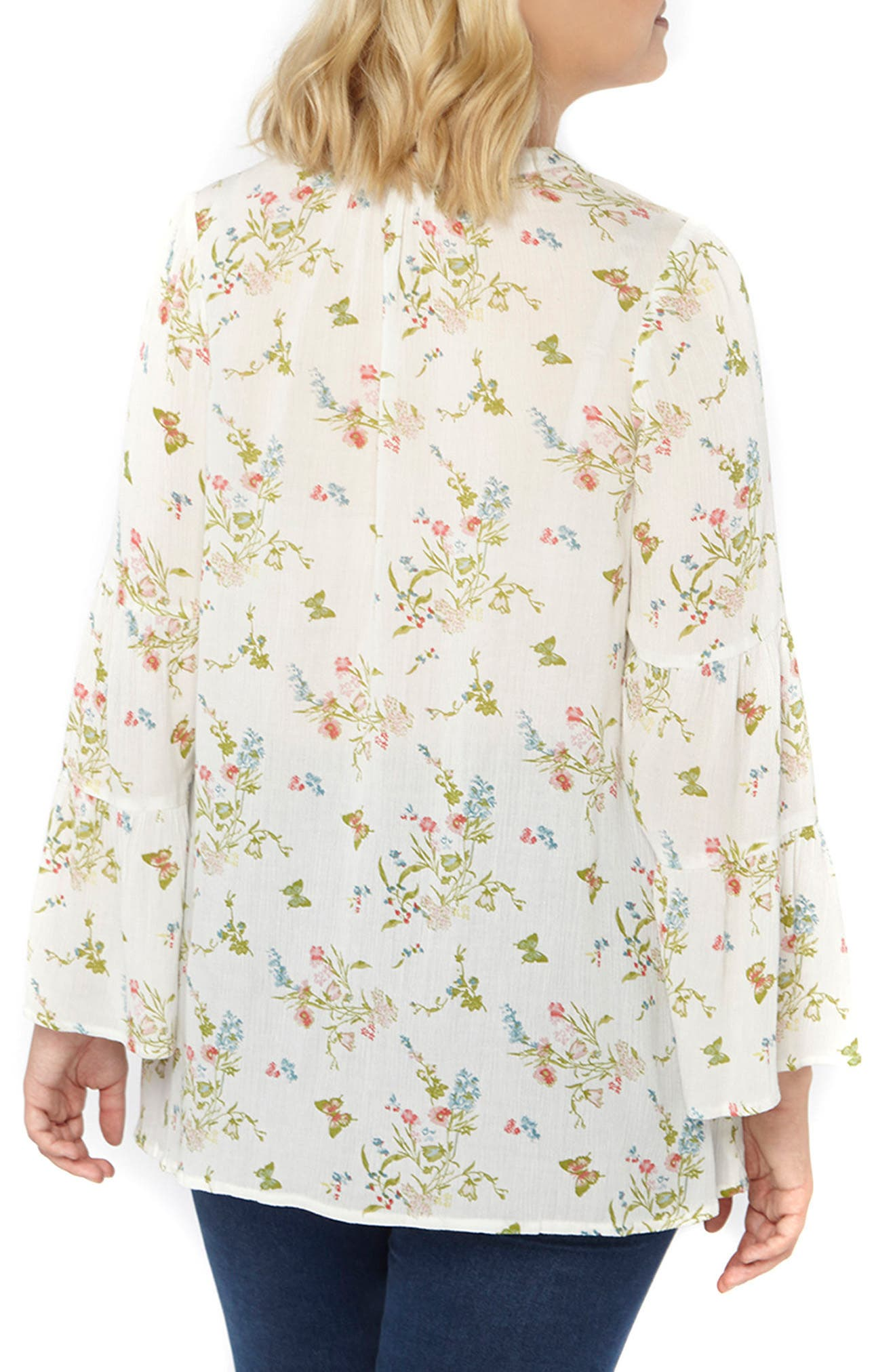Bell Sleeve Floral Blouse,                             Alternate thumbnail 2, color,                             Ivory