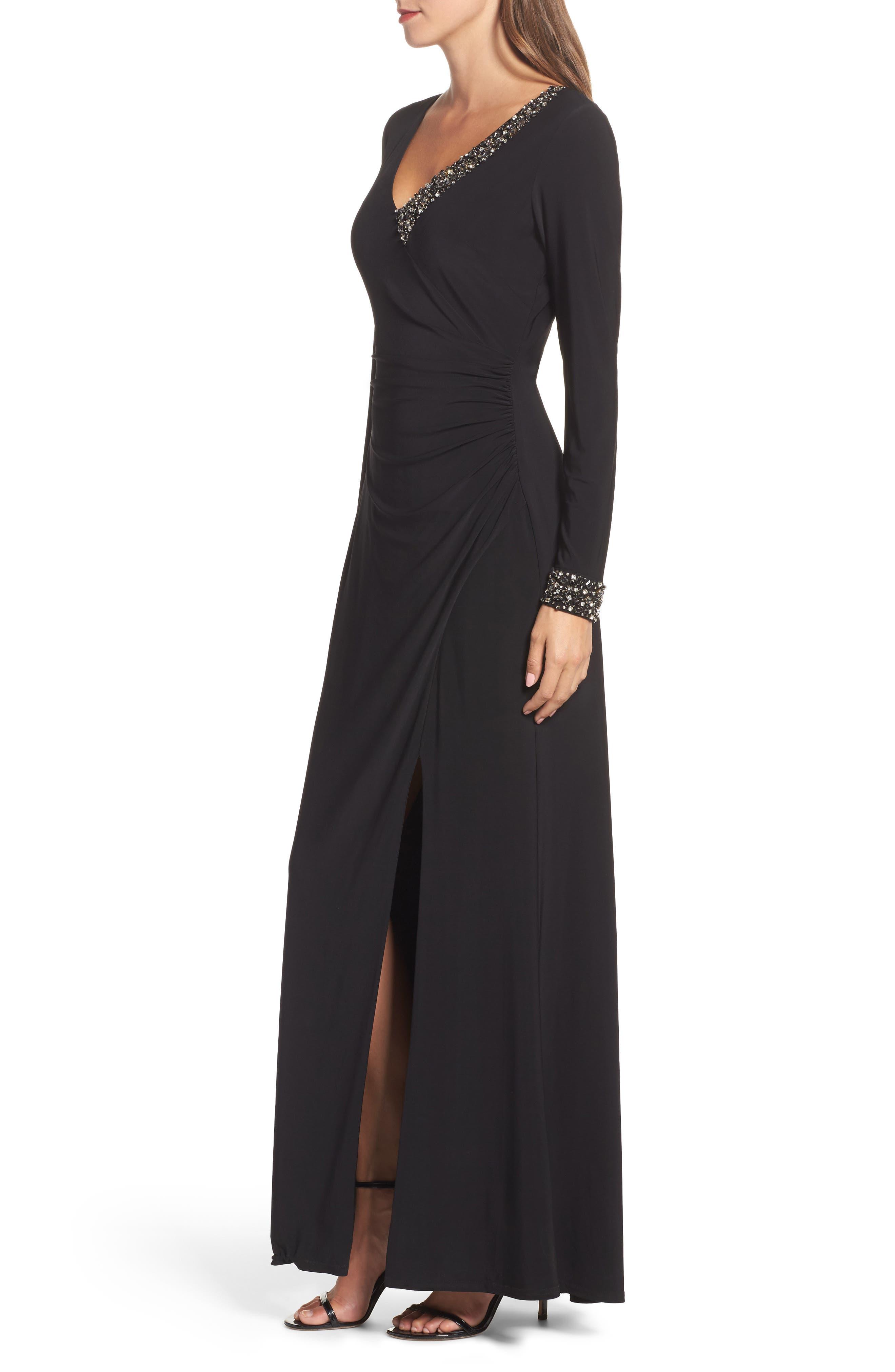 Embellished Side Tuck Jersey Gown,                             Alternate thumbnail 3, color,                             Black