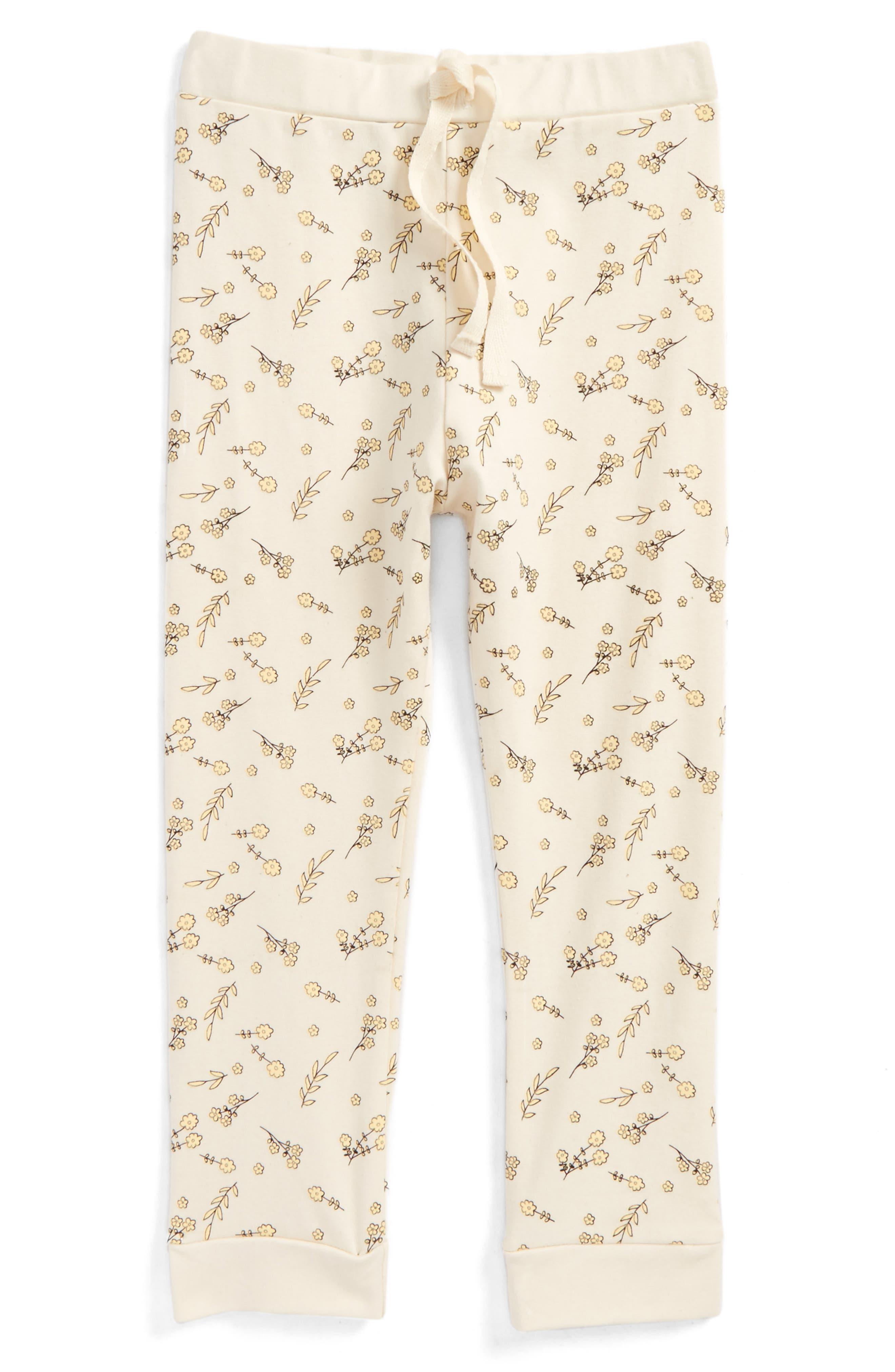 For Love & Lemons Print Drawstring Leggings,                         Main,                         color, Ivory Floral