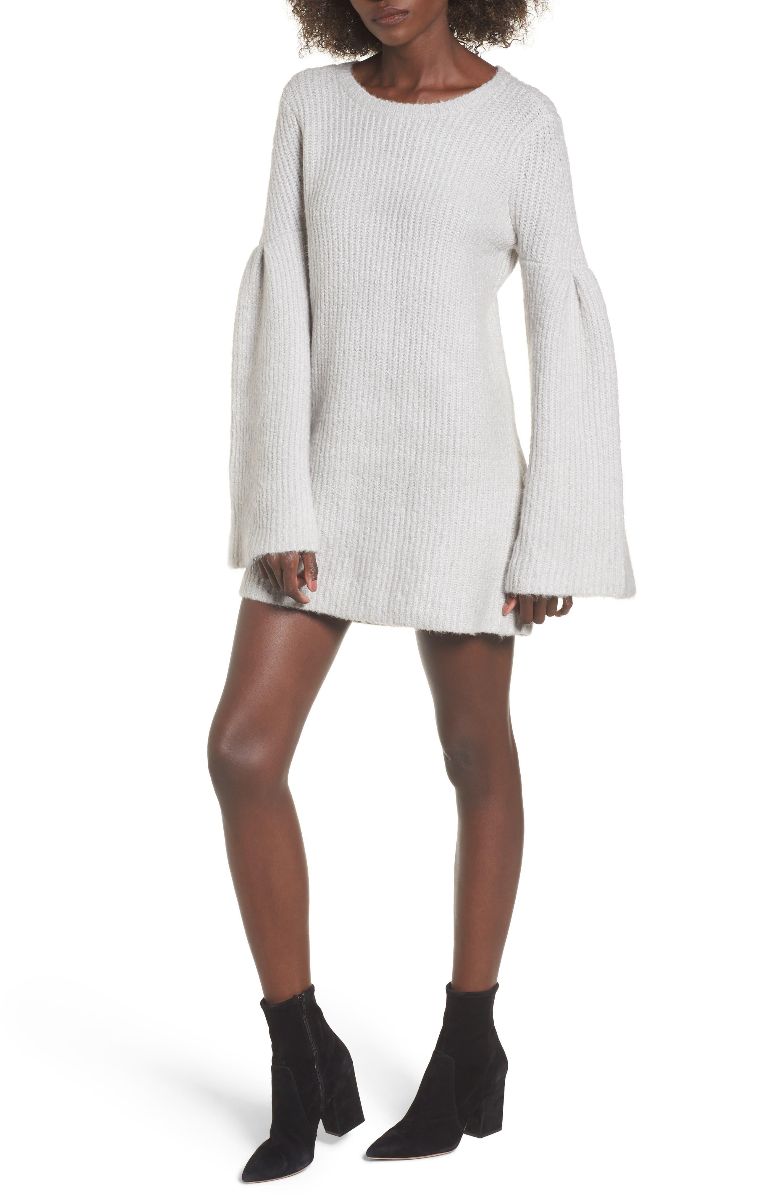 Gemstone Sweater Dress,                         Main,                         color, Warm Grey