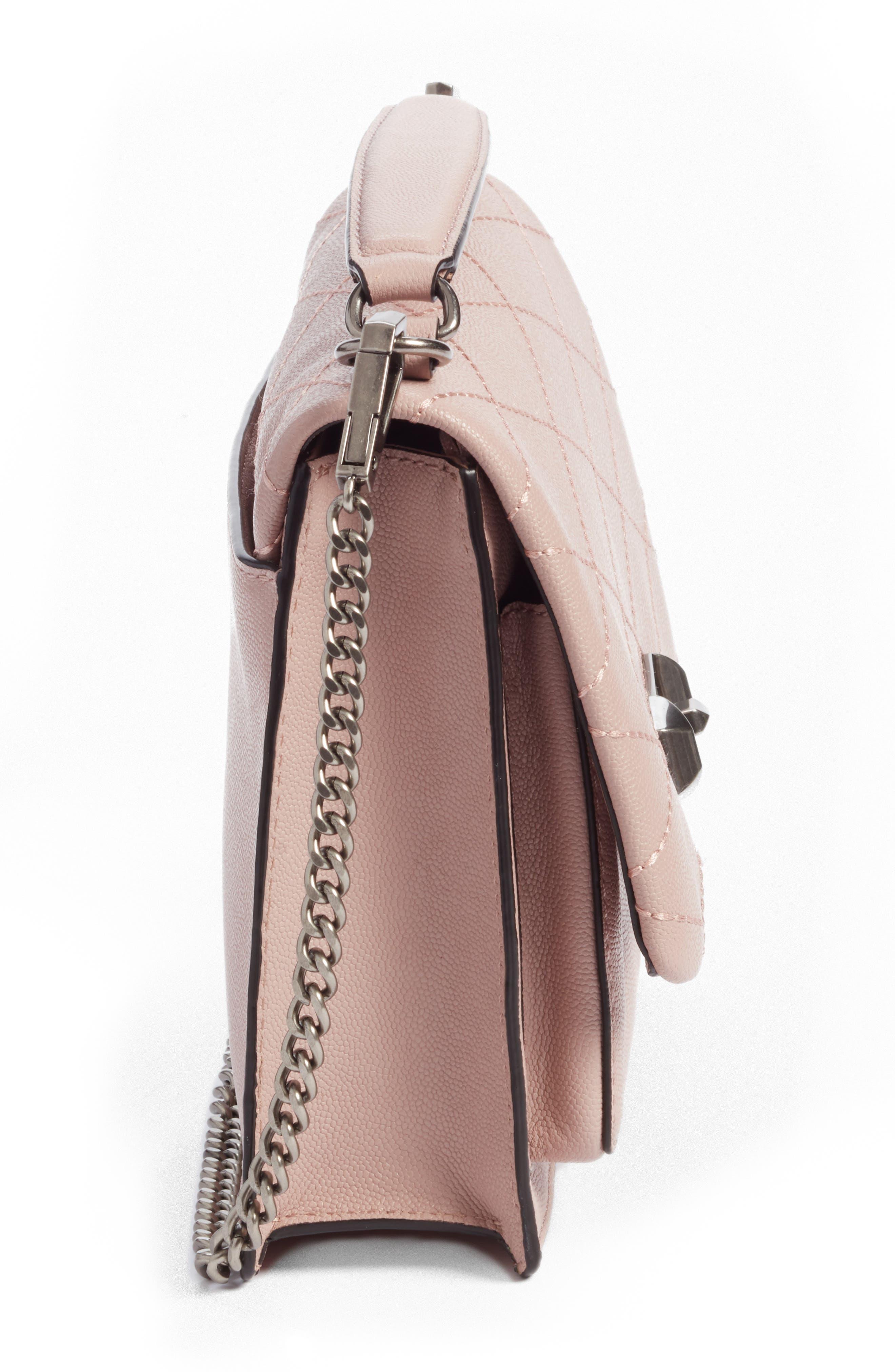 Medium Je T'aime Convertible Leather Crossbody Bag,                             Alternate thumbnail 4, color,                             Vintage Pink