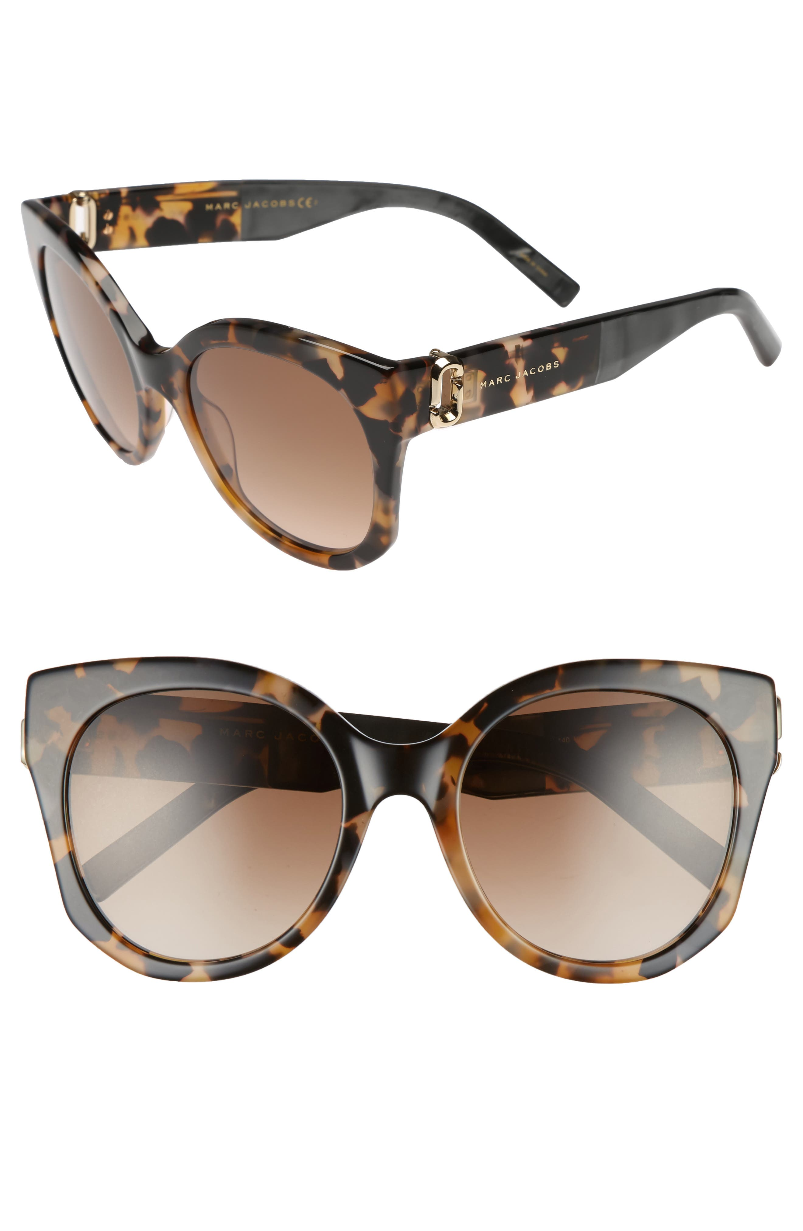 53mm Gradient Lens Cat Eye Sunglasses,                         Main,                         color, Dark Havanna