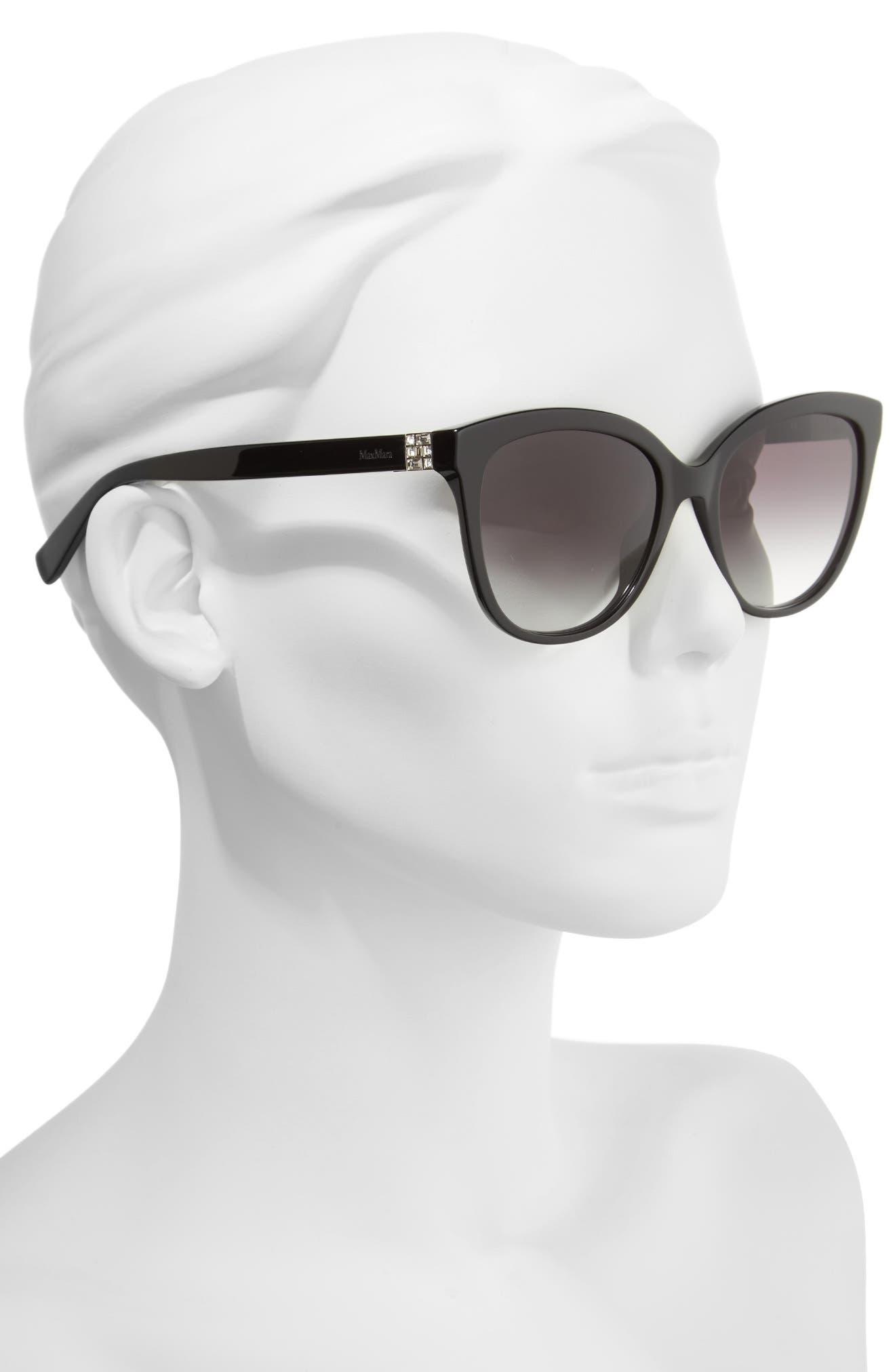 Tile 55mm Cat Eye Sunglasses,                             Alternate thumbnail 2, color,                             Black