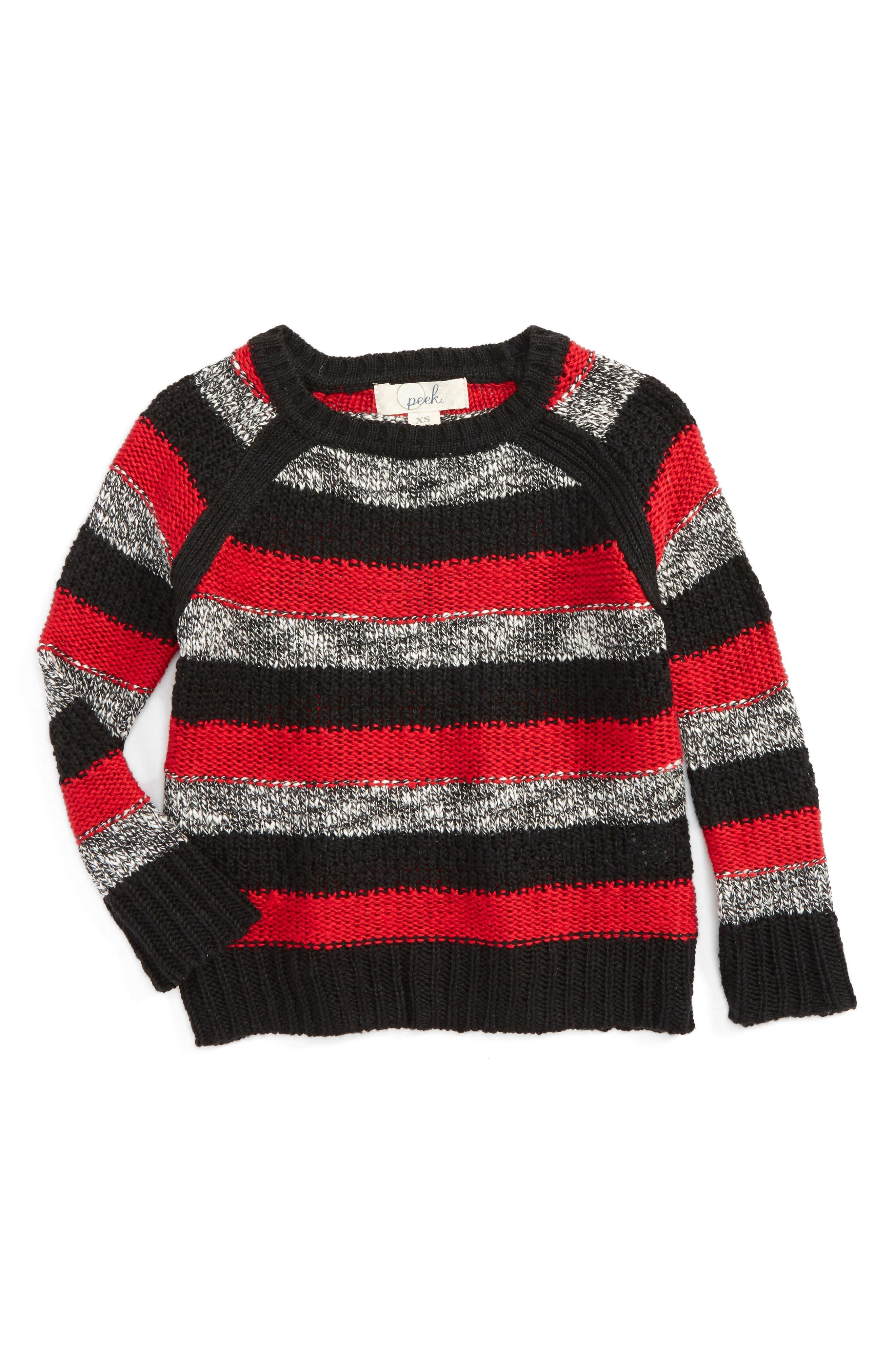 Roman Stripe Crewneck Sweater,                             Main thumbnail 1, color,                             Black