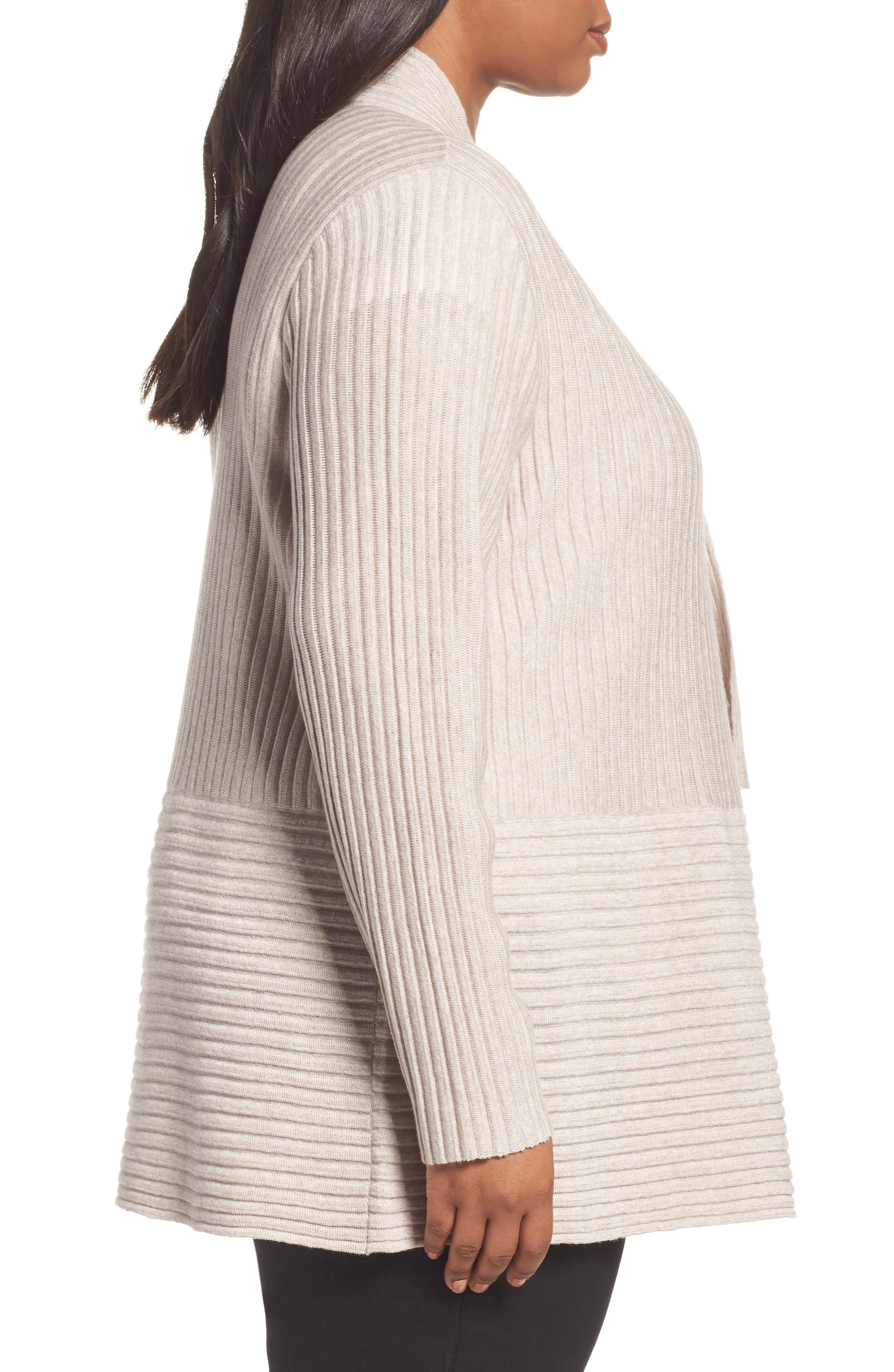 Ribbed Merino Wool Long Cardigan,                             Alternate thumbnail 3, color,                             Brown