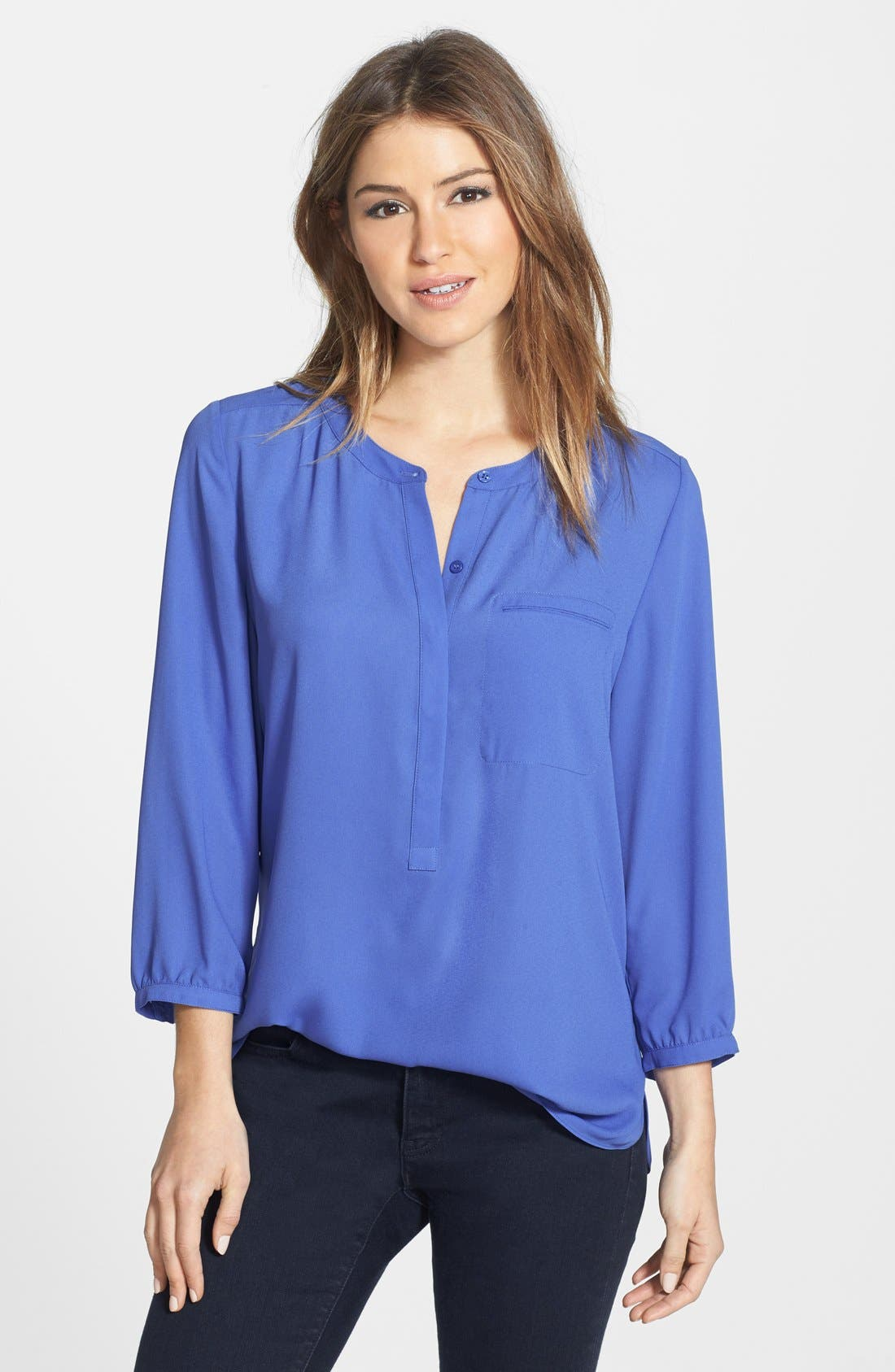 Alternate Image 1 Selected - NYDJ Henley Blouse (Regular & Petite)