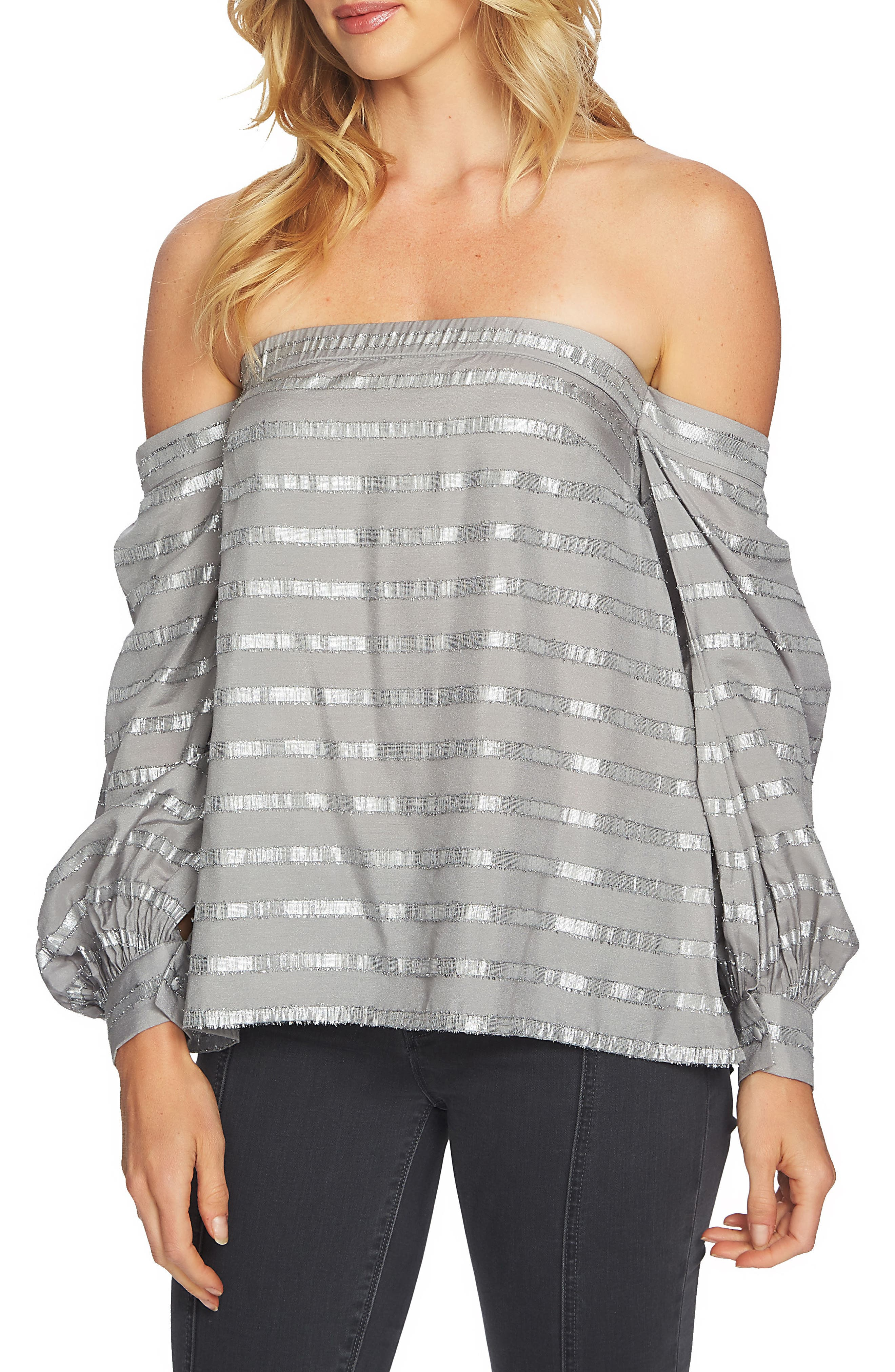 Off the Shoulder Top,                         Main,                         color, Soot Grey