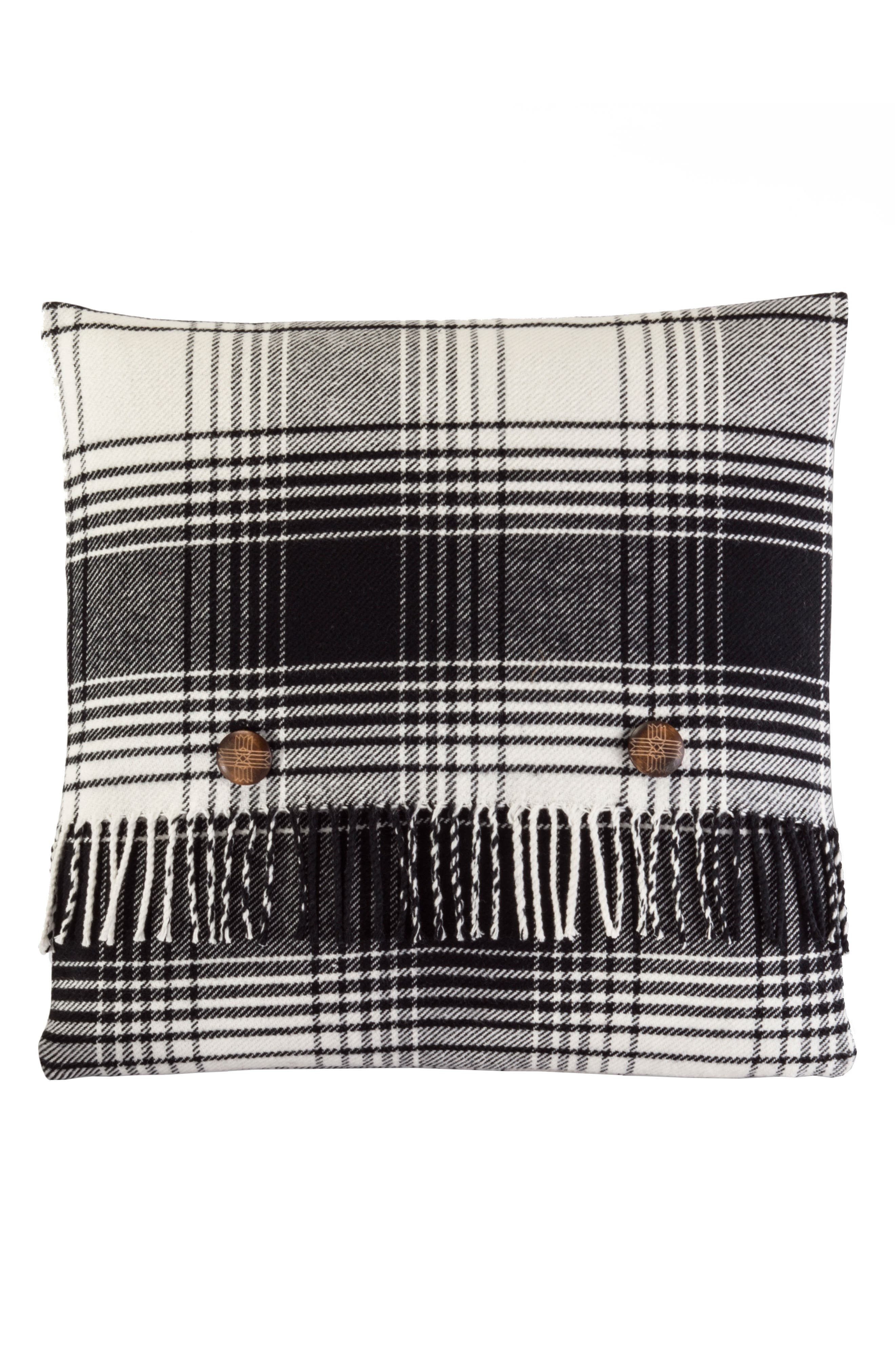 Warren Plaid Pillow,                             Main thumbnail 1, color,                             Black And White