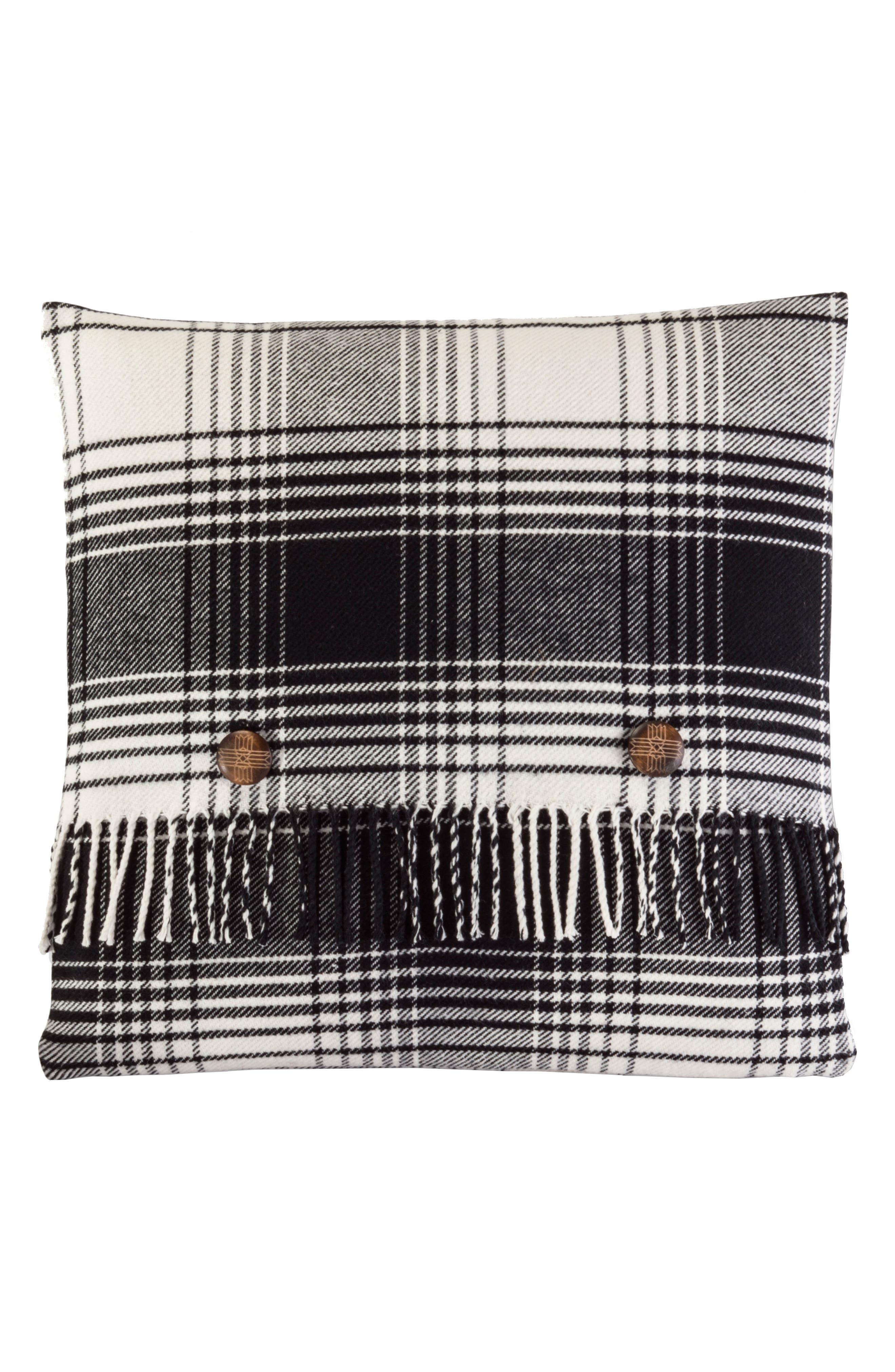 Warren Plaid Pillow,                         Main,                         color, Black And White