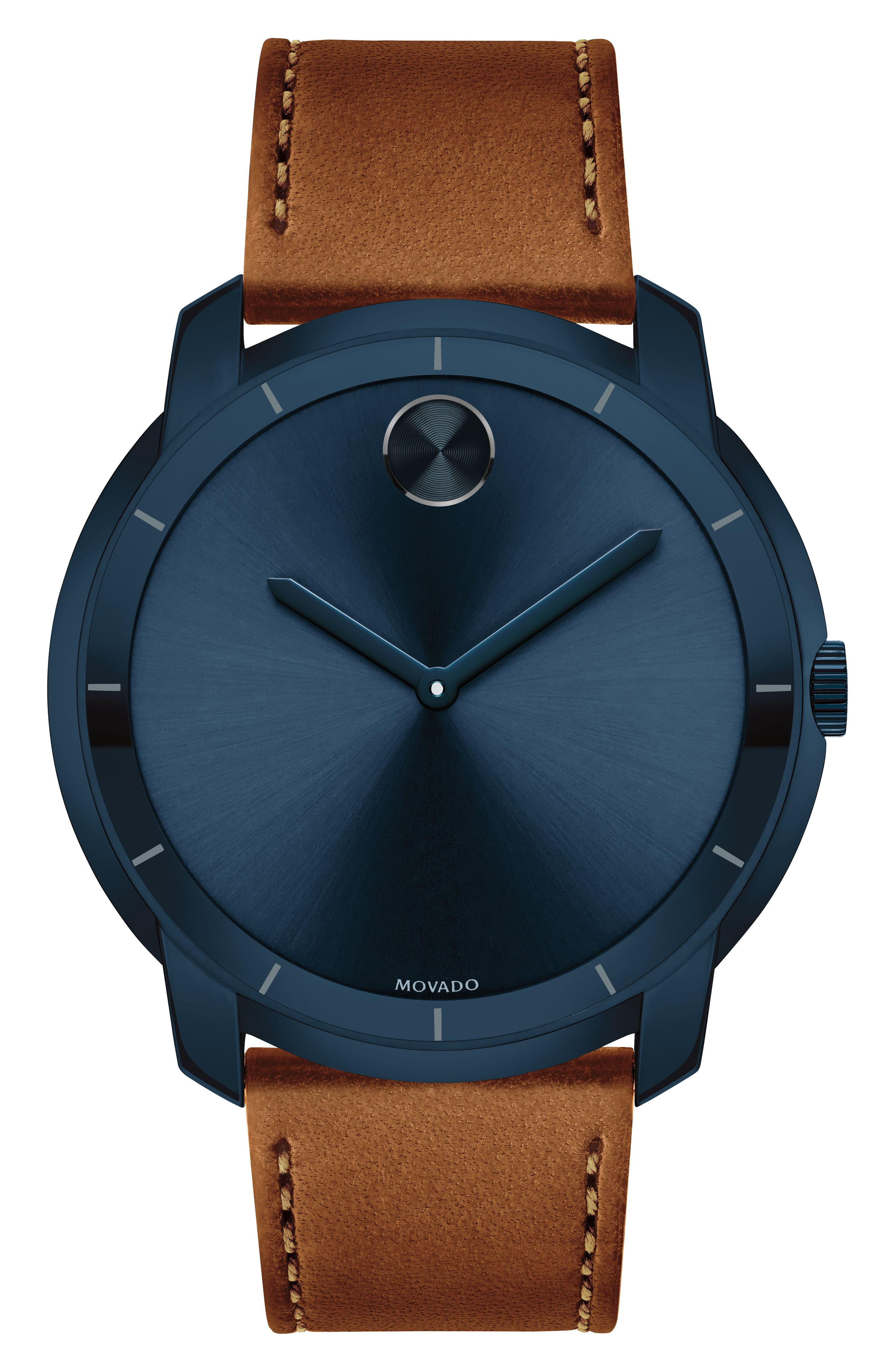 Bold Thin Leather Strap Watch, 44mm,                         Main,                         color, Cognac/ Blue