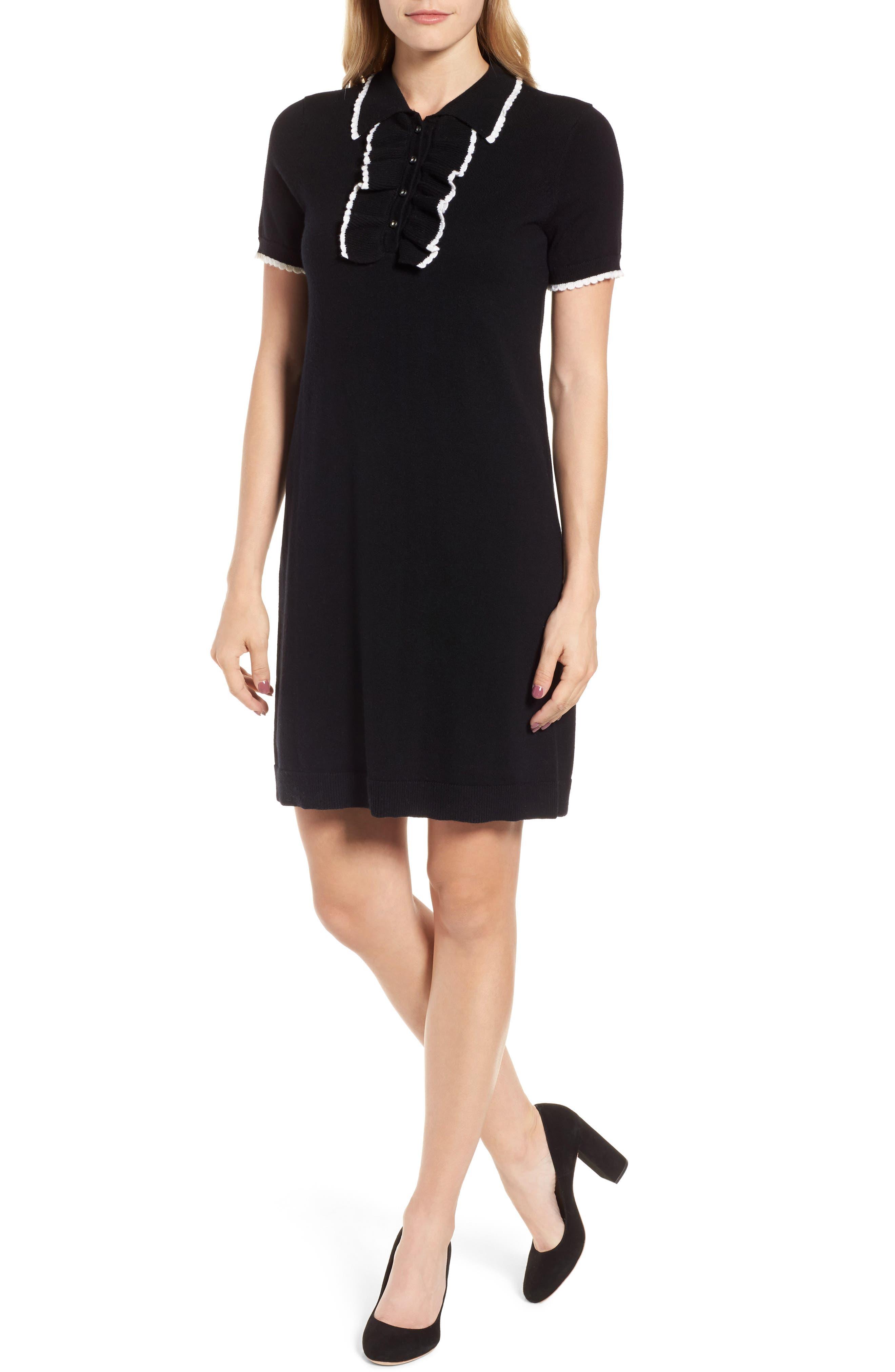 Polo Sweater Dress,                         Main,                         color, Black