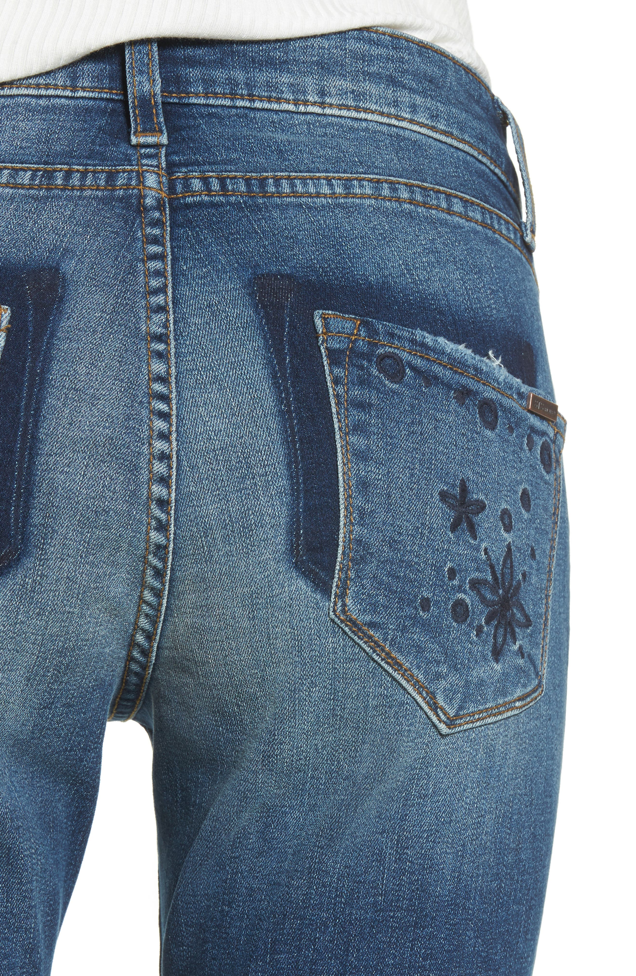 Taylor Distressed and Embroidered Straight Leg Jeans,                             Alternate thumbnail 4, color,                             Rosedale