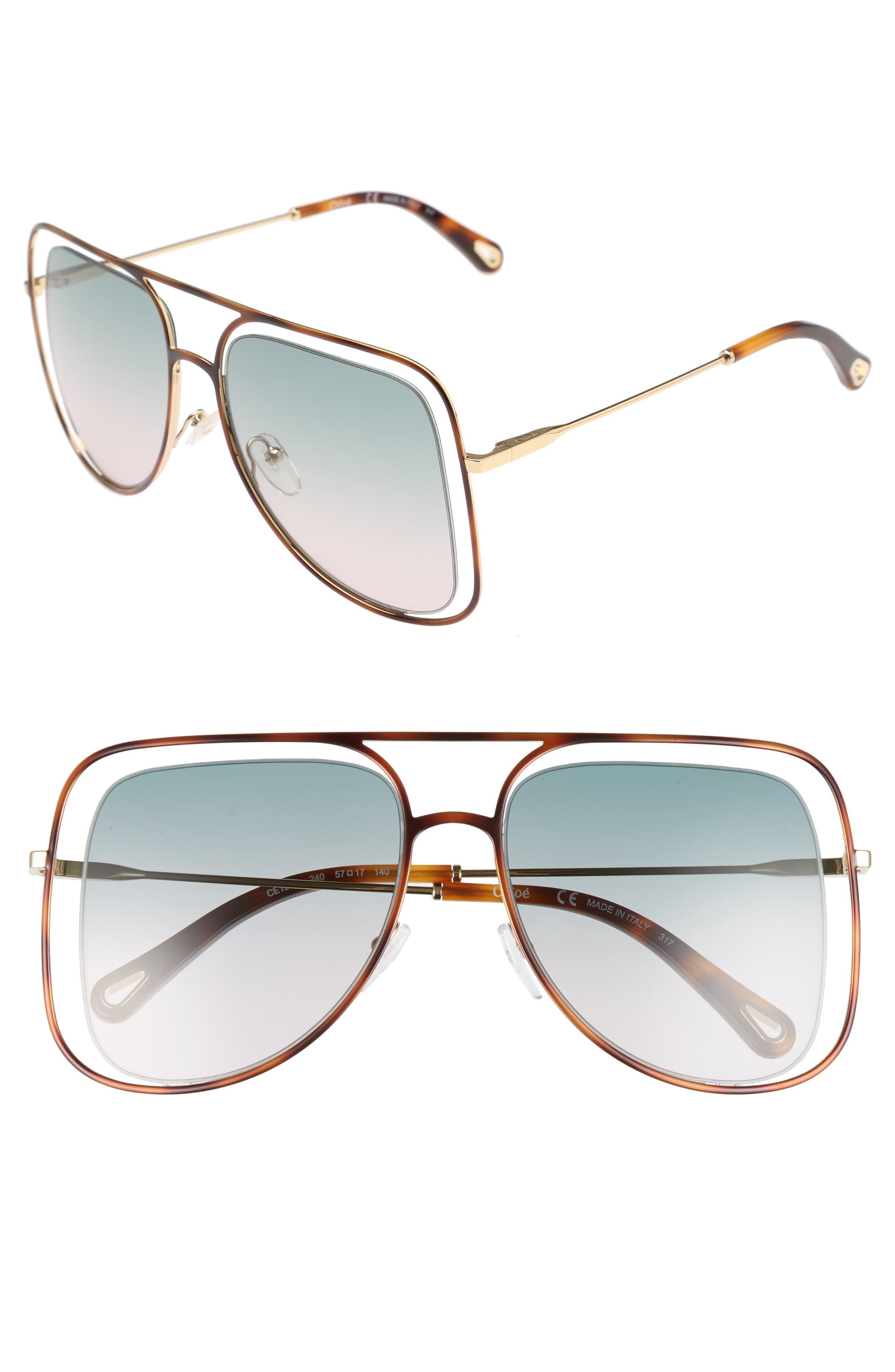 Main Image - Chloé 57mm Halo Frame Aviator Sunglasses