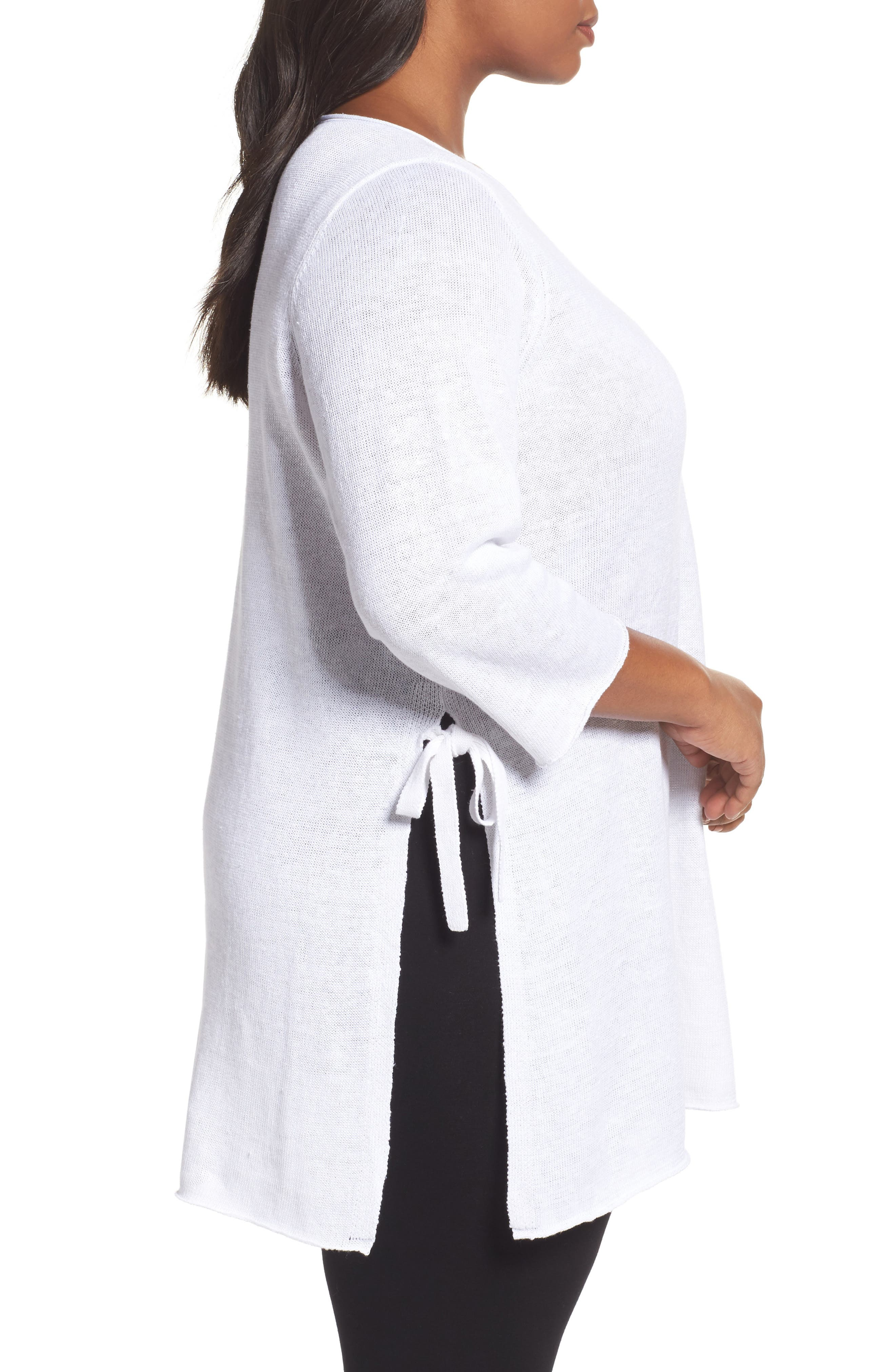 Alternate Image 3  - Eileen Fisher Side Tie Organic Linen Sweater (Plus Size)