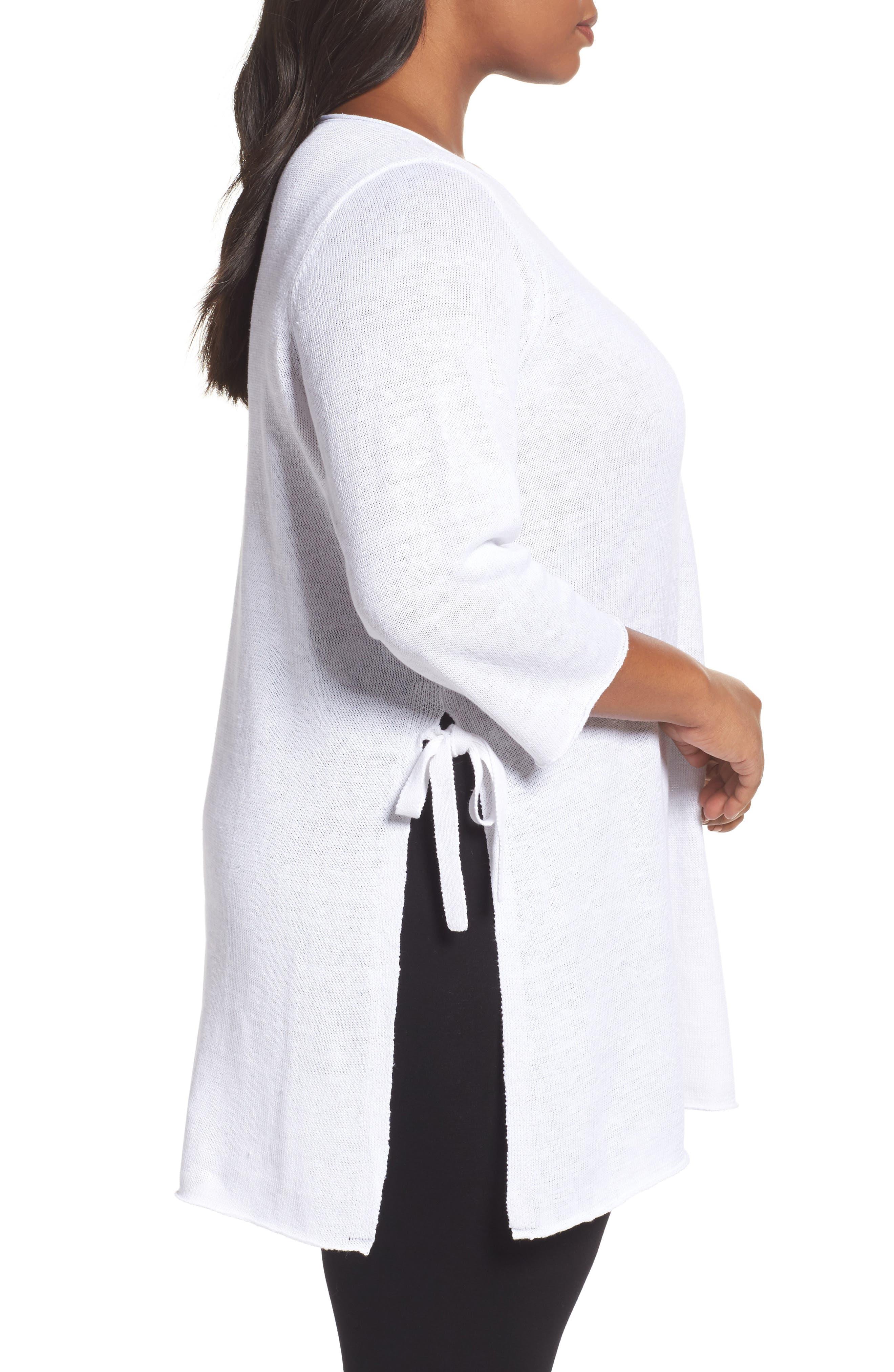 Side Tie Organic Linen Sweater,                             Alternate thumbnail 3, color,                             White