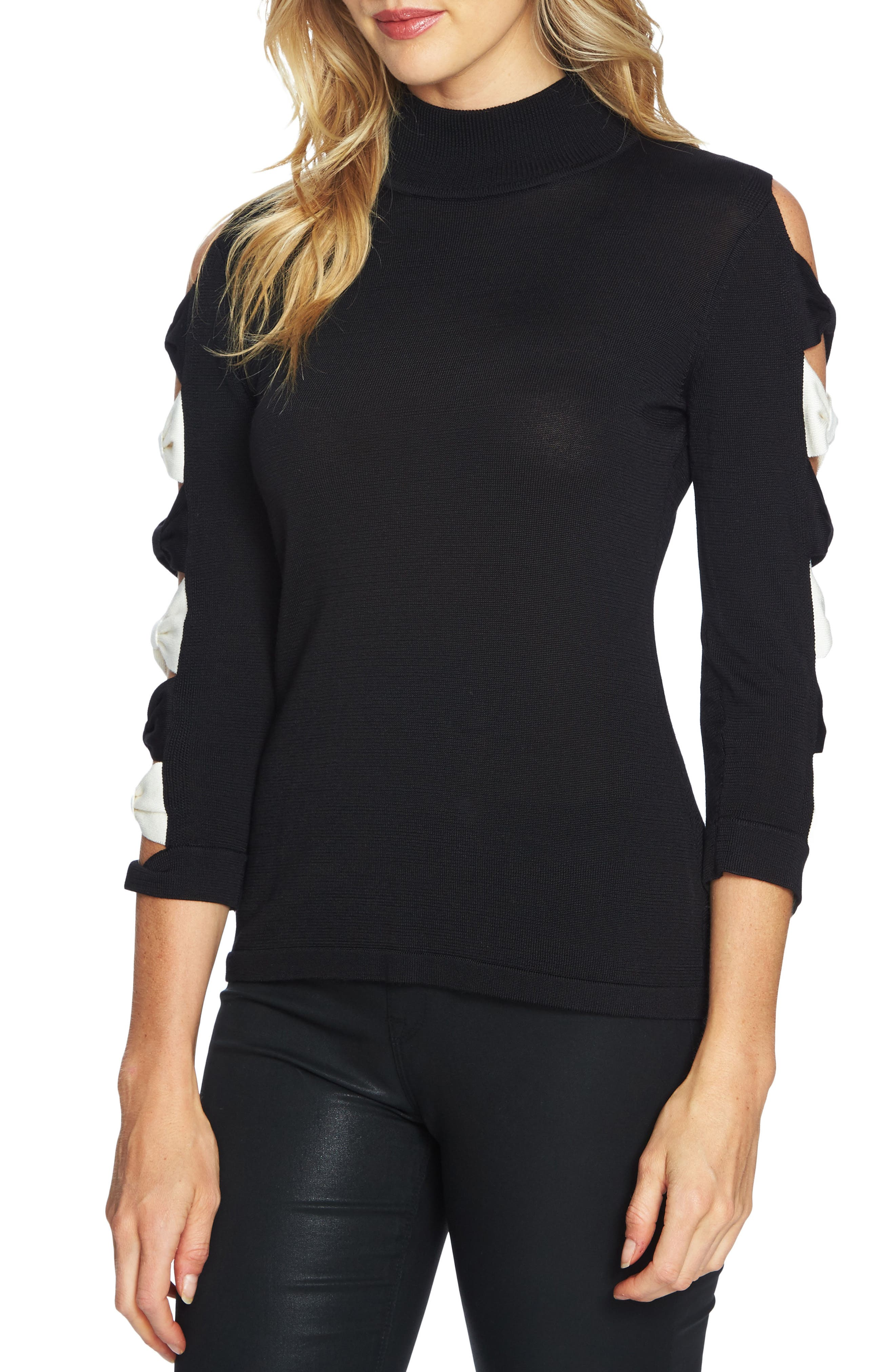 Bow Sleeve Sweater,                         Main,                         color, Rich Black