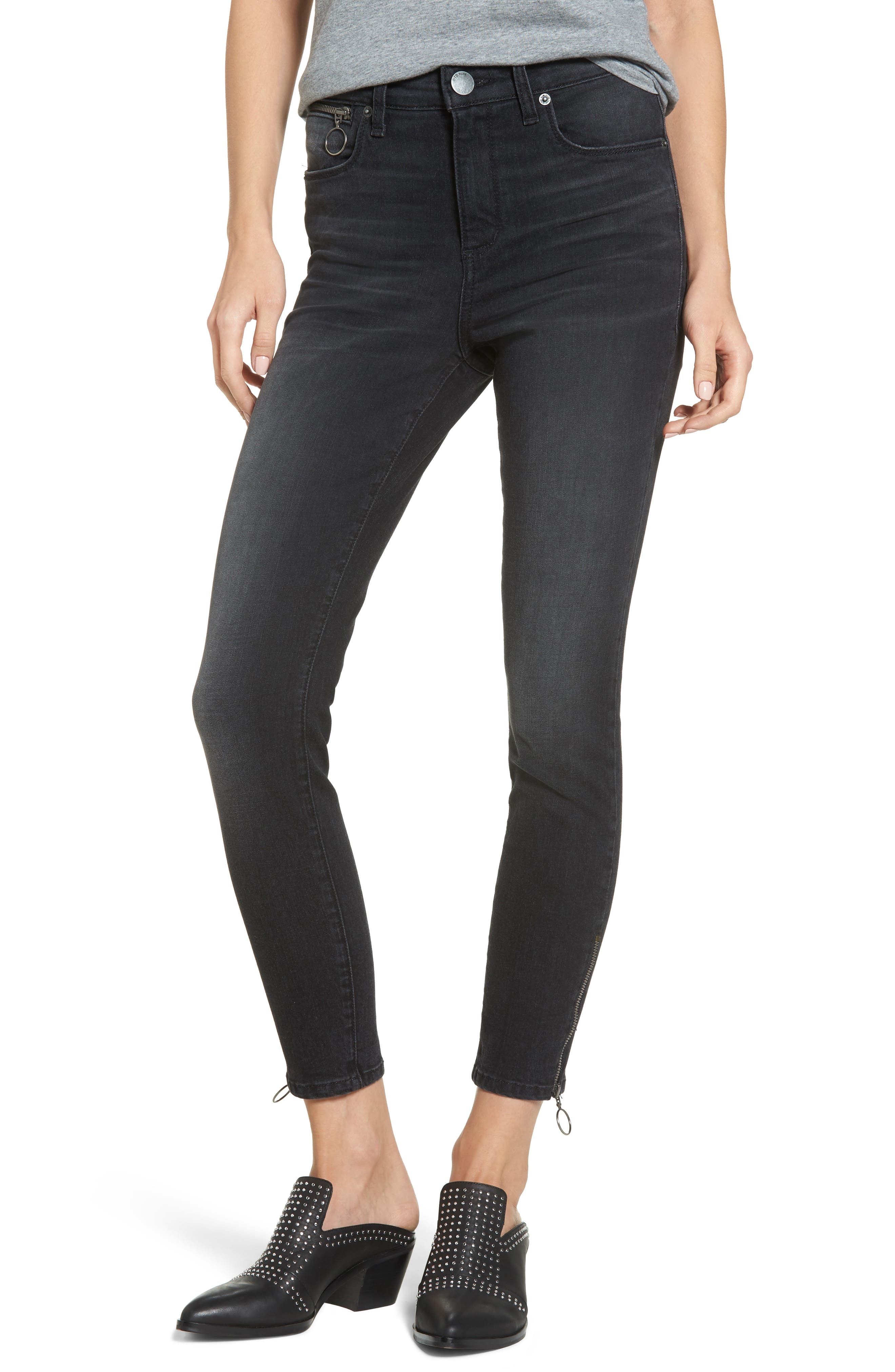Ashley Zip Detail High Waist Skinny Jeans,                             Main thumbnail 1, color,                             Wilshire