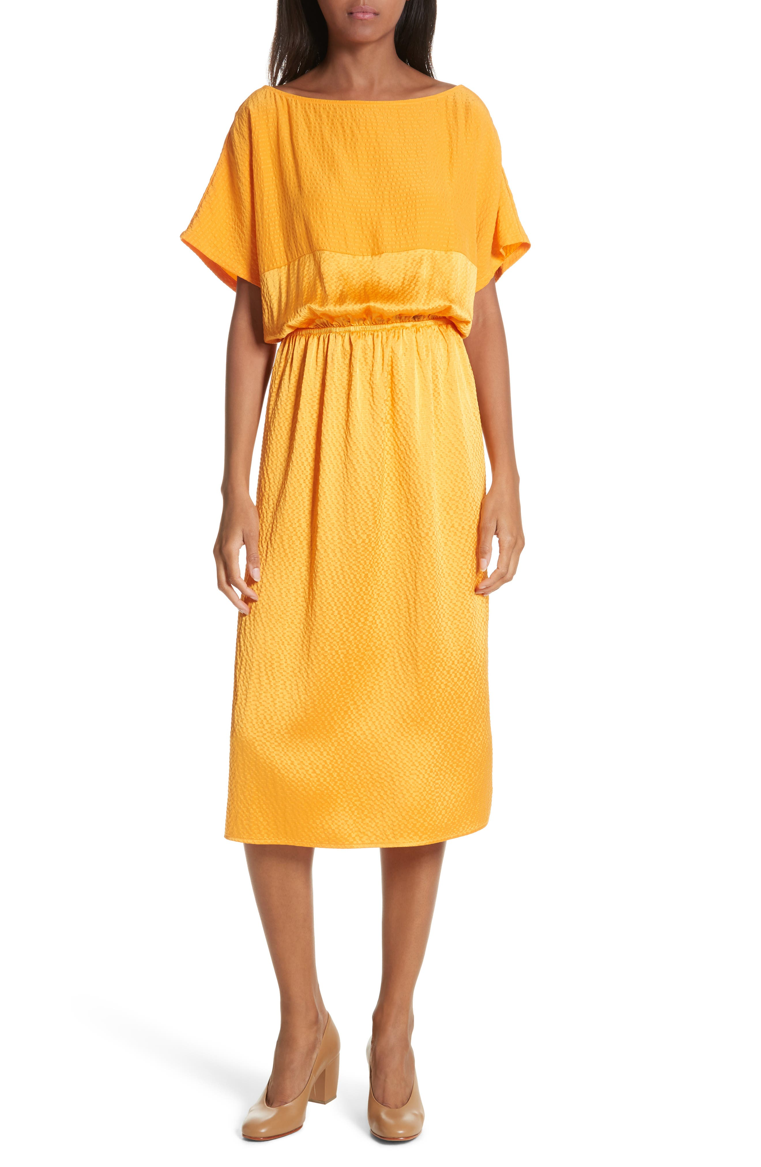 Tonic Silk Midi Dress,                         Main,                         color, Tangerine