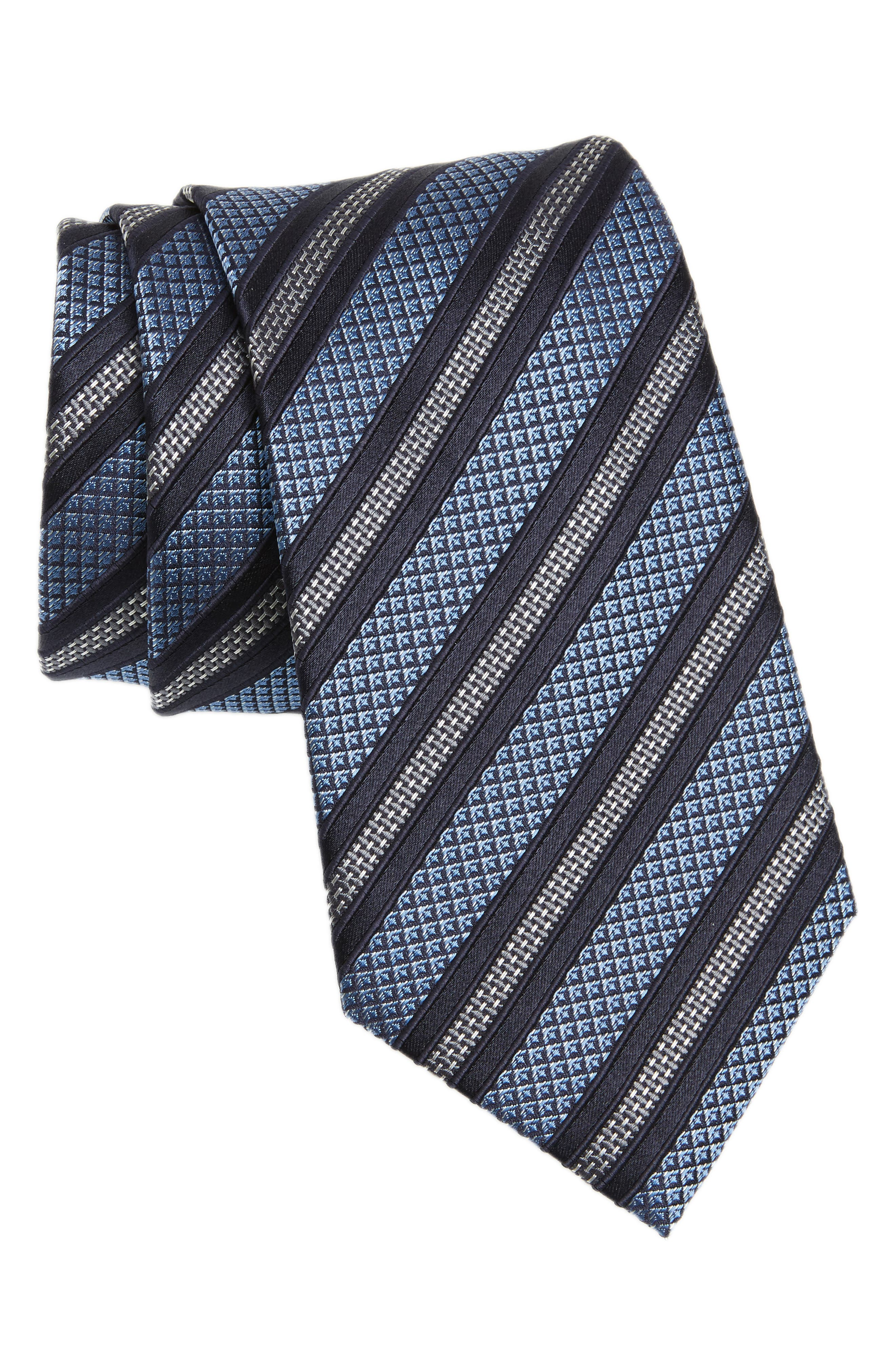 Stripe Silk Tie,                         Main,                         color, Navy
