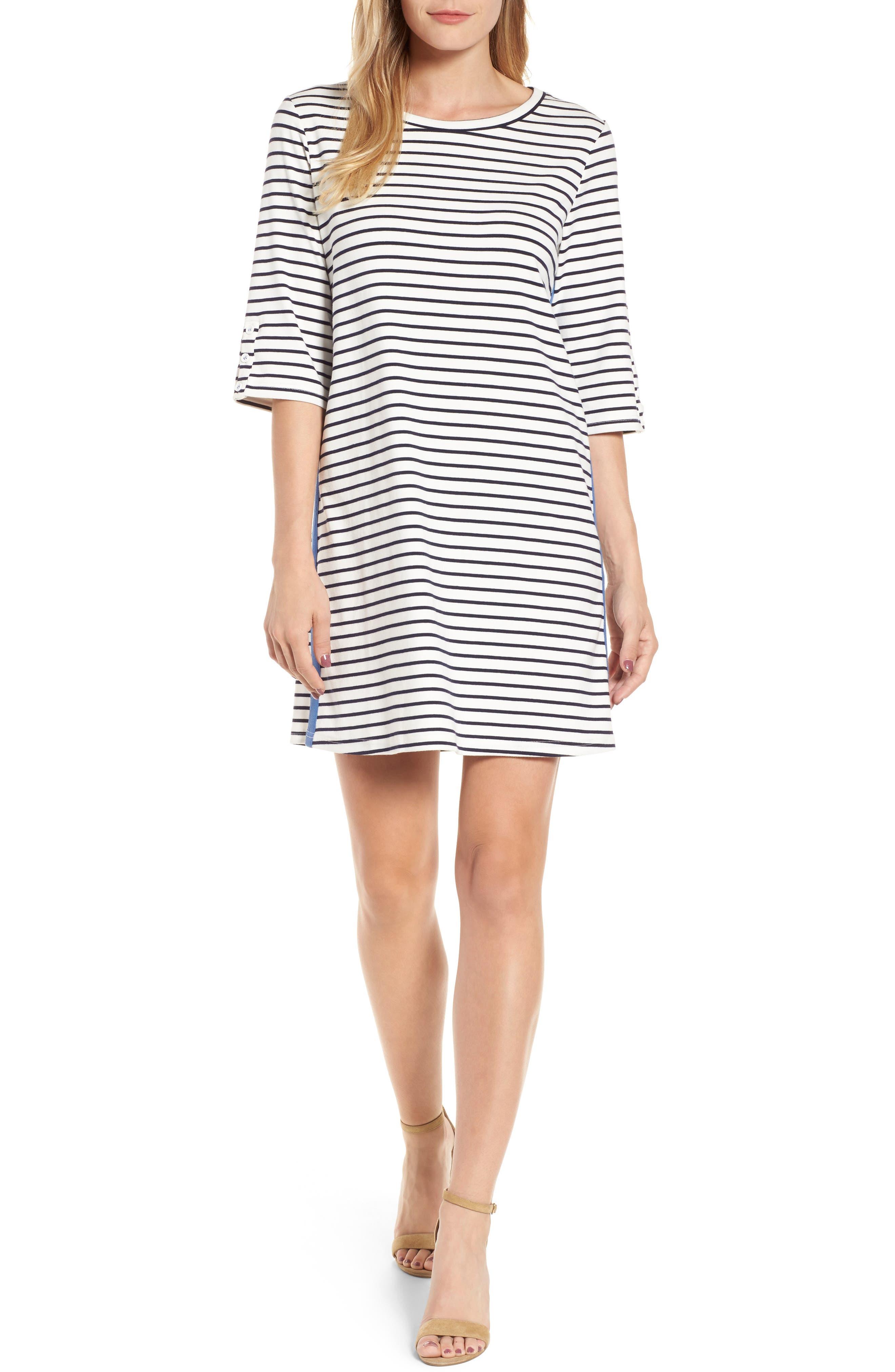 Twill Tape Trim Knit Dress,                         Main,                         color, Black- White Stripe