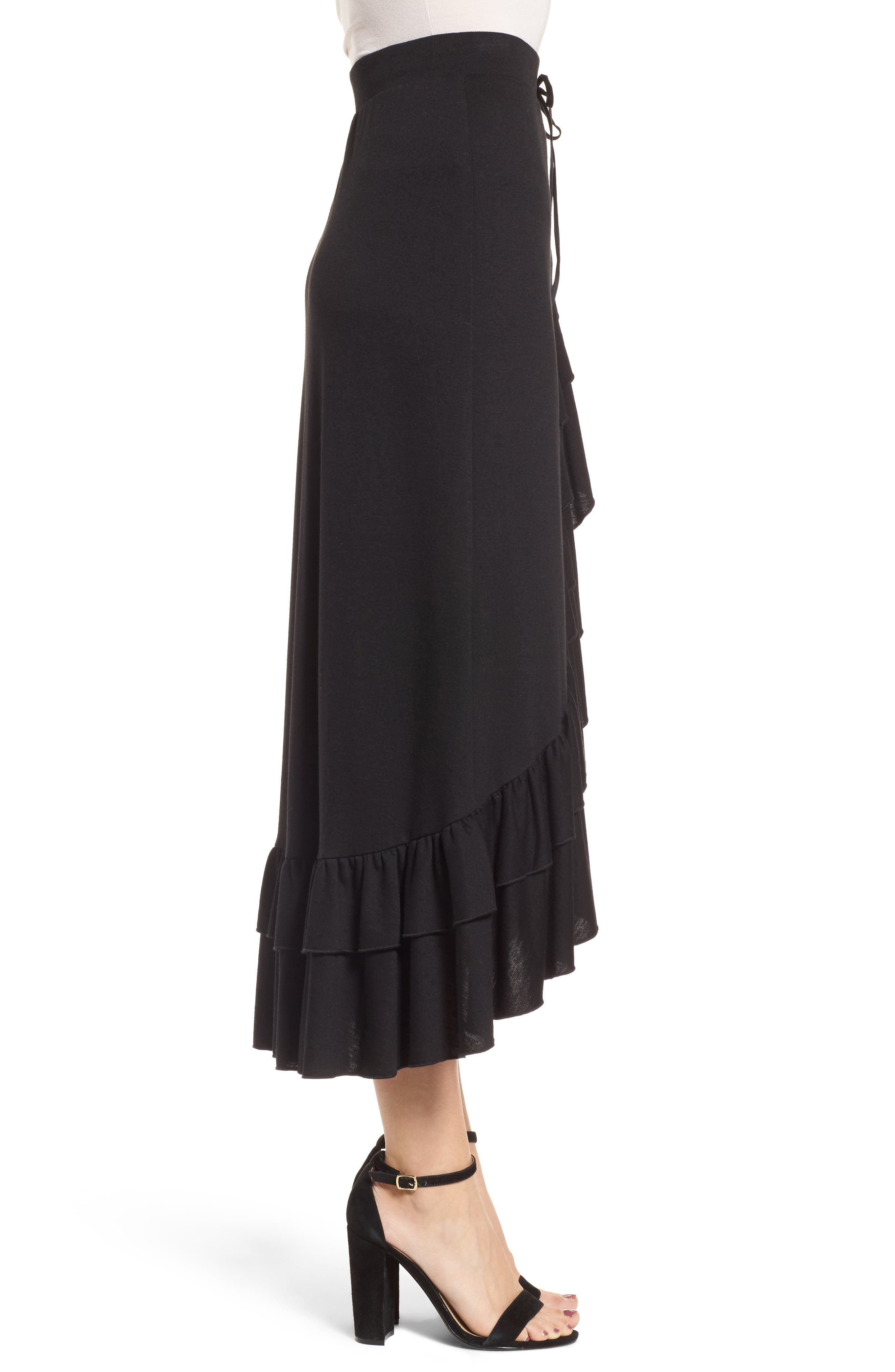 Ruffle Midi Skirt,                             Alternate thumbnail 3, color,                             Black
