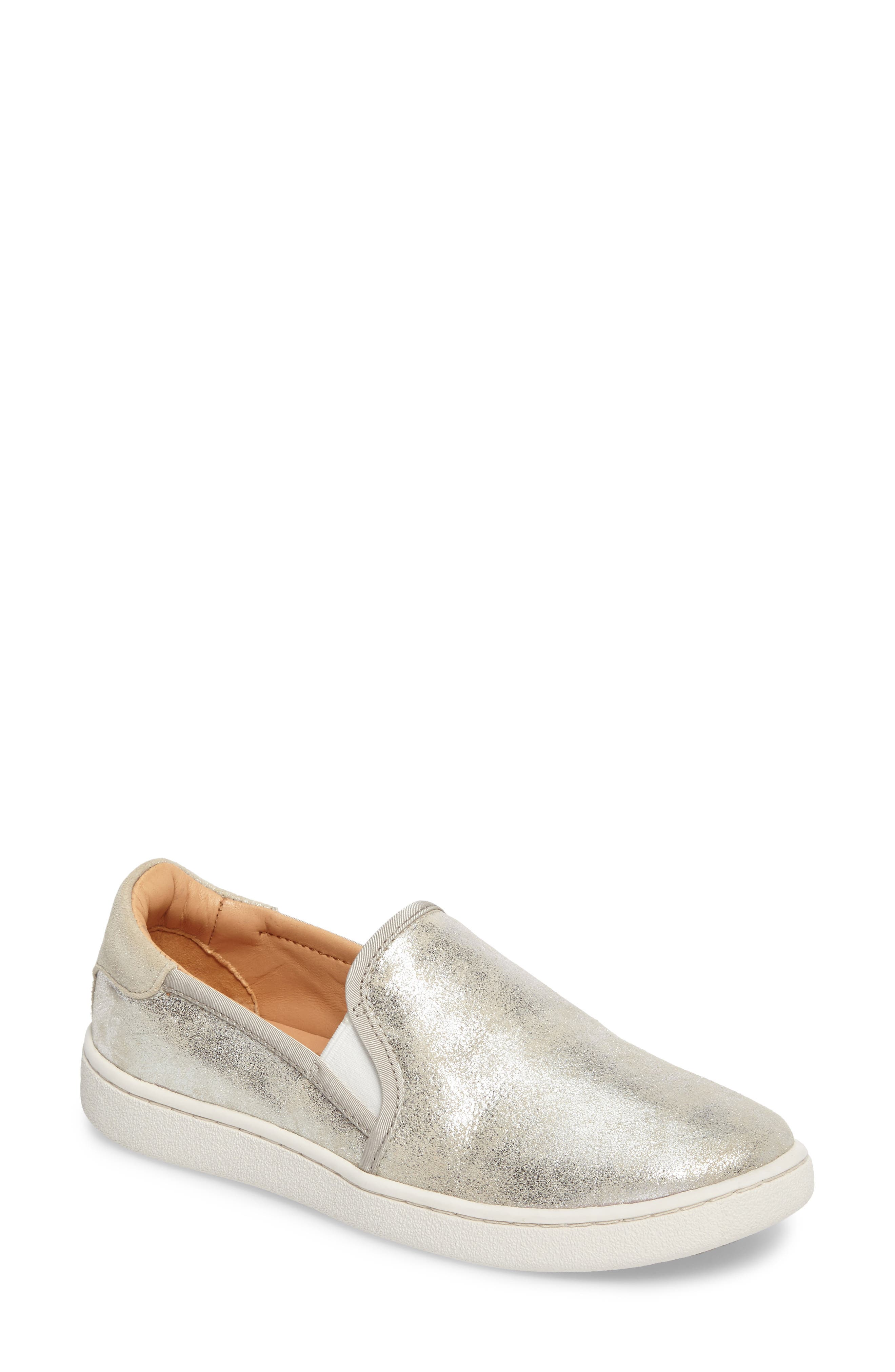 Cas Stardust Slip-On Sneaker,                         Main,                         color, Silver Leather