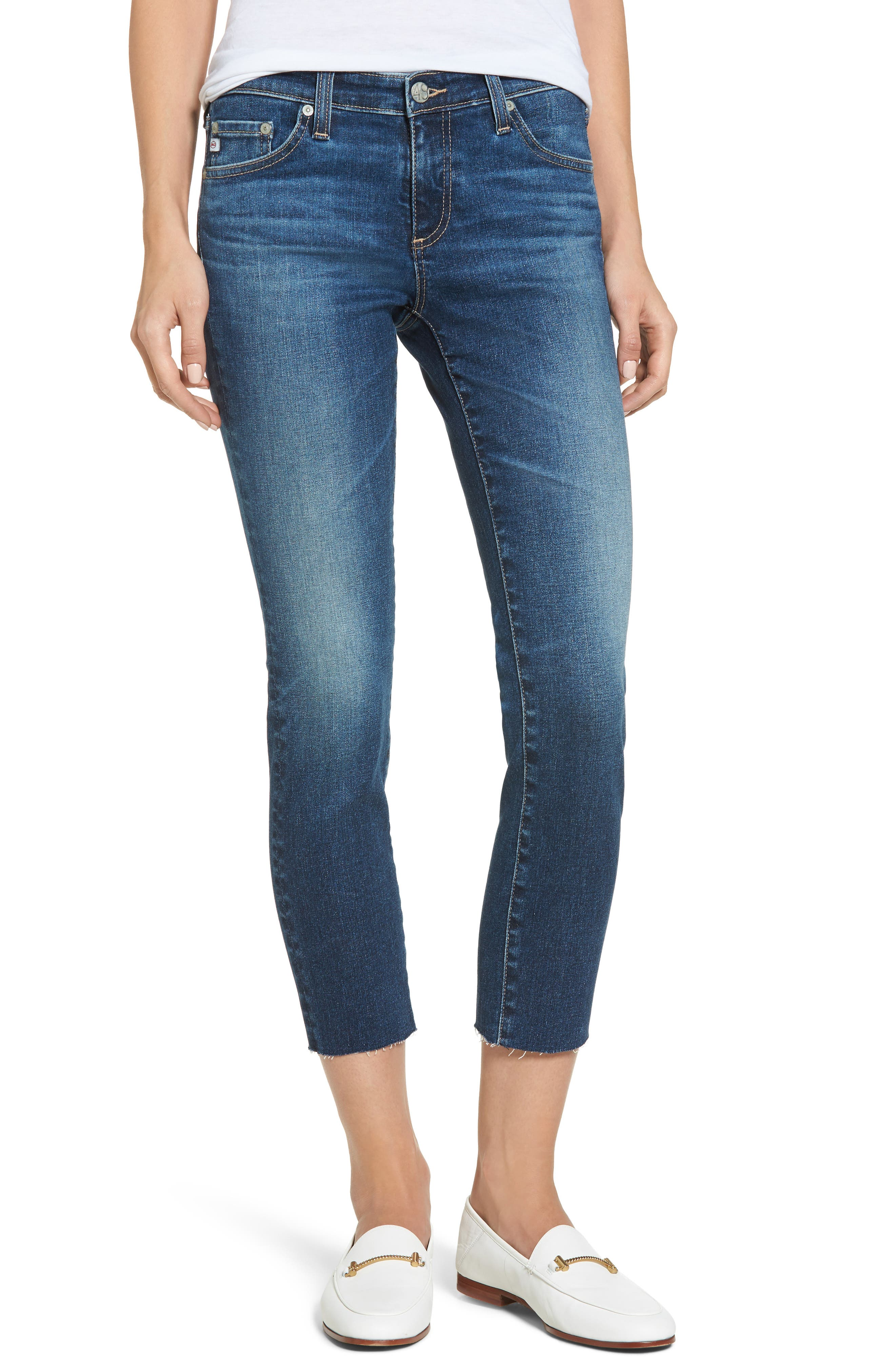 The Stilt Crop Skinny Jeans,                         Main,                         color, 5 Years Indigo Avenue