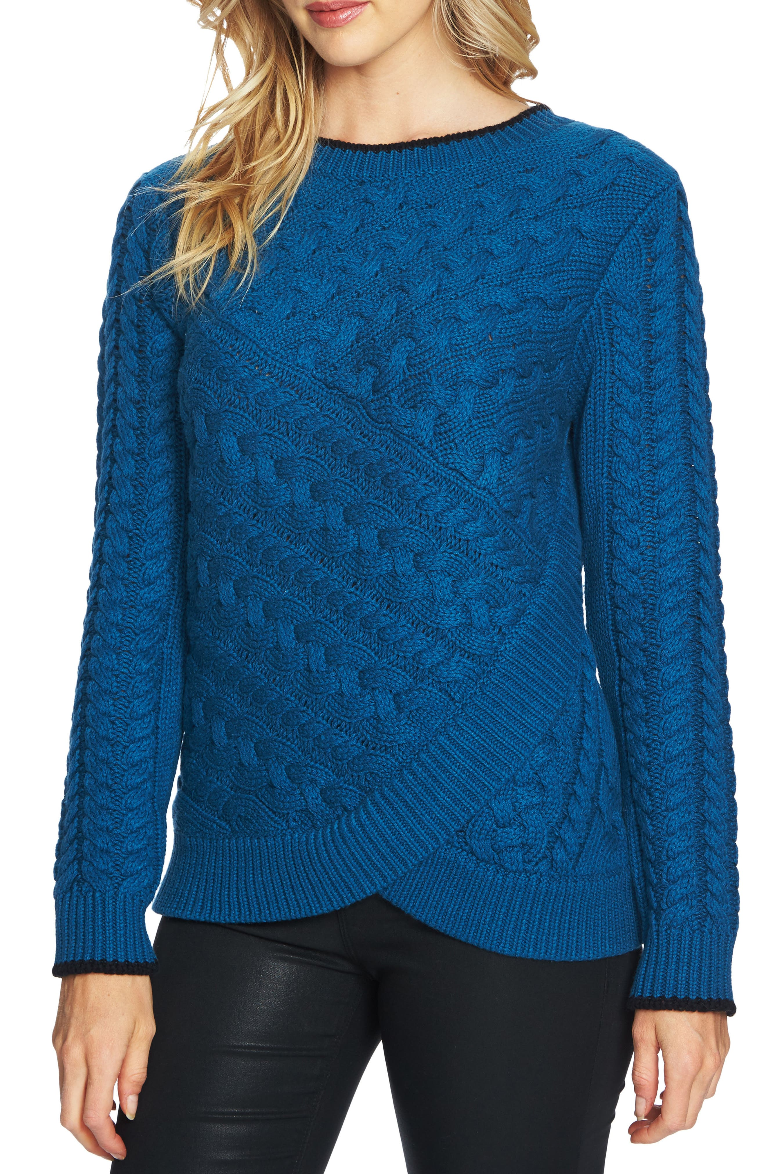 Double Layer Cable Stitch Sweater,                         Main,                         color, Port Blue
