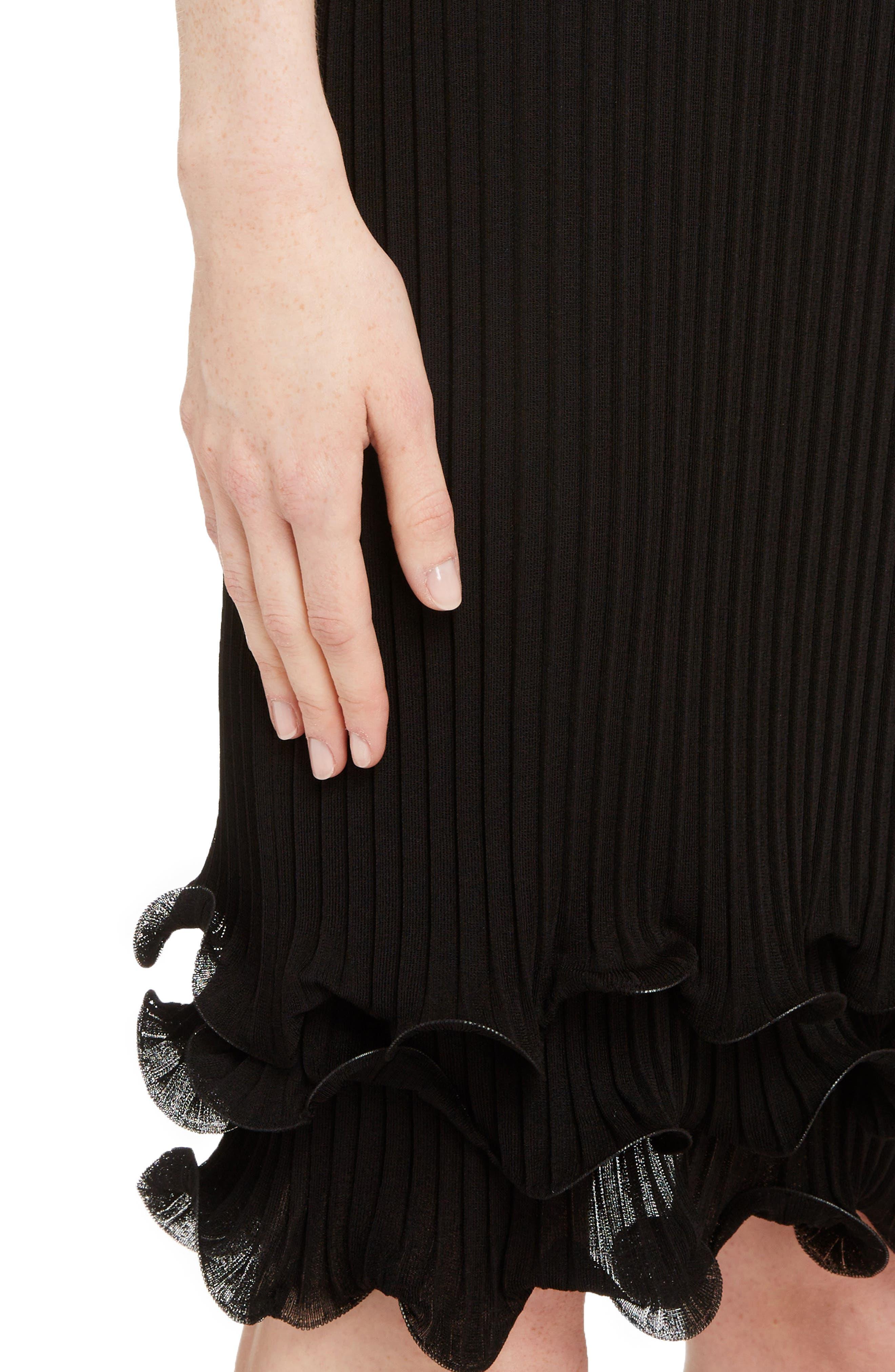 Ribbed Ruffle Hem Dress,                             Alternate thumbnail 4, color,                             Black