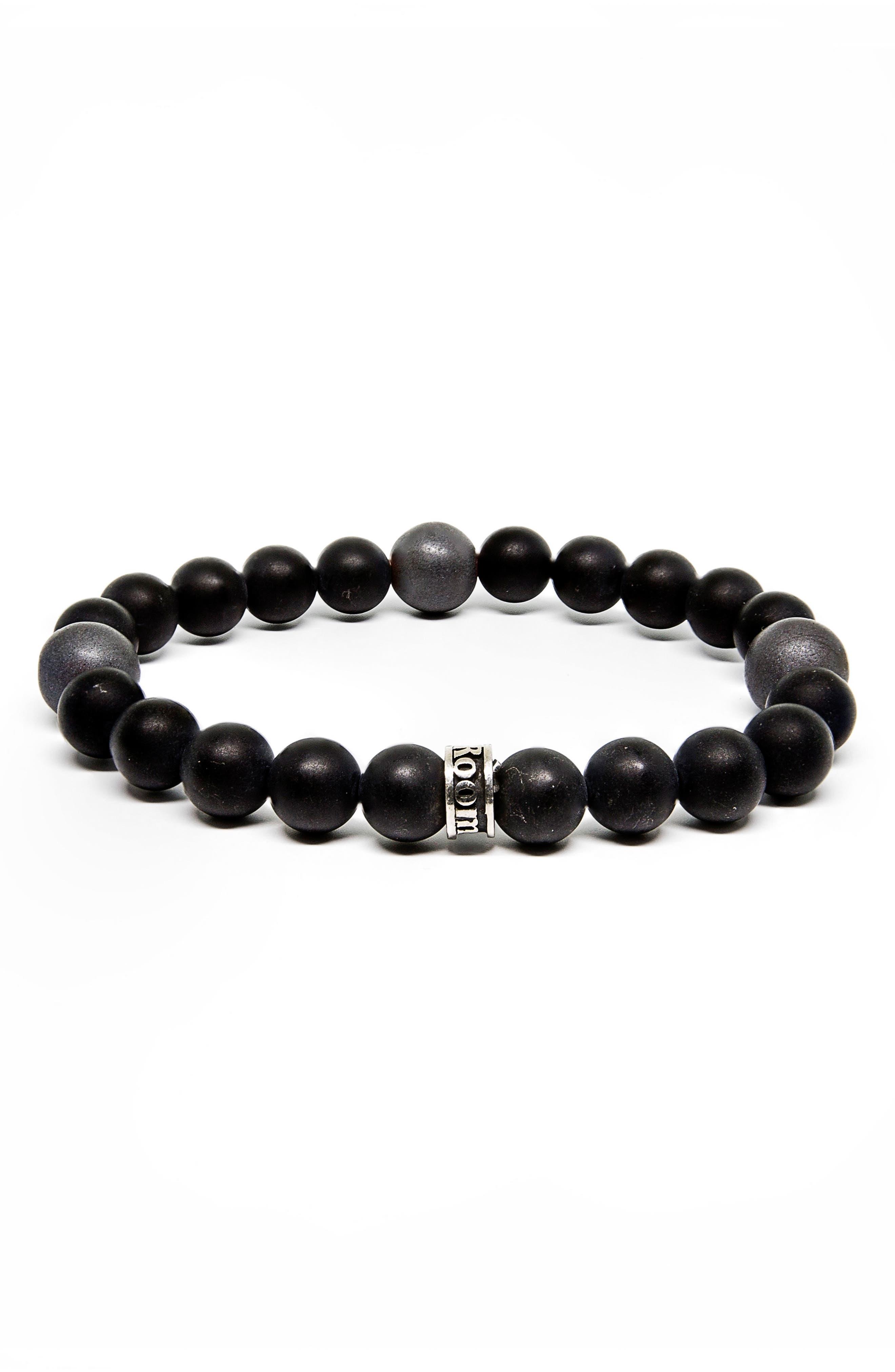 Satin Agate and Hematite Stretch Bracelet,                         Main,                         color, Black/ Gray