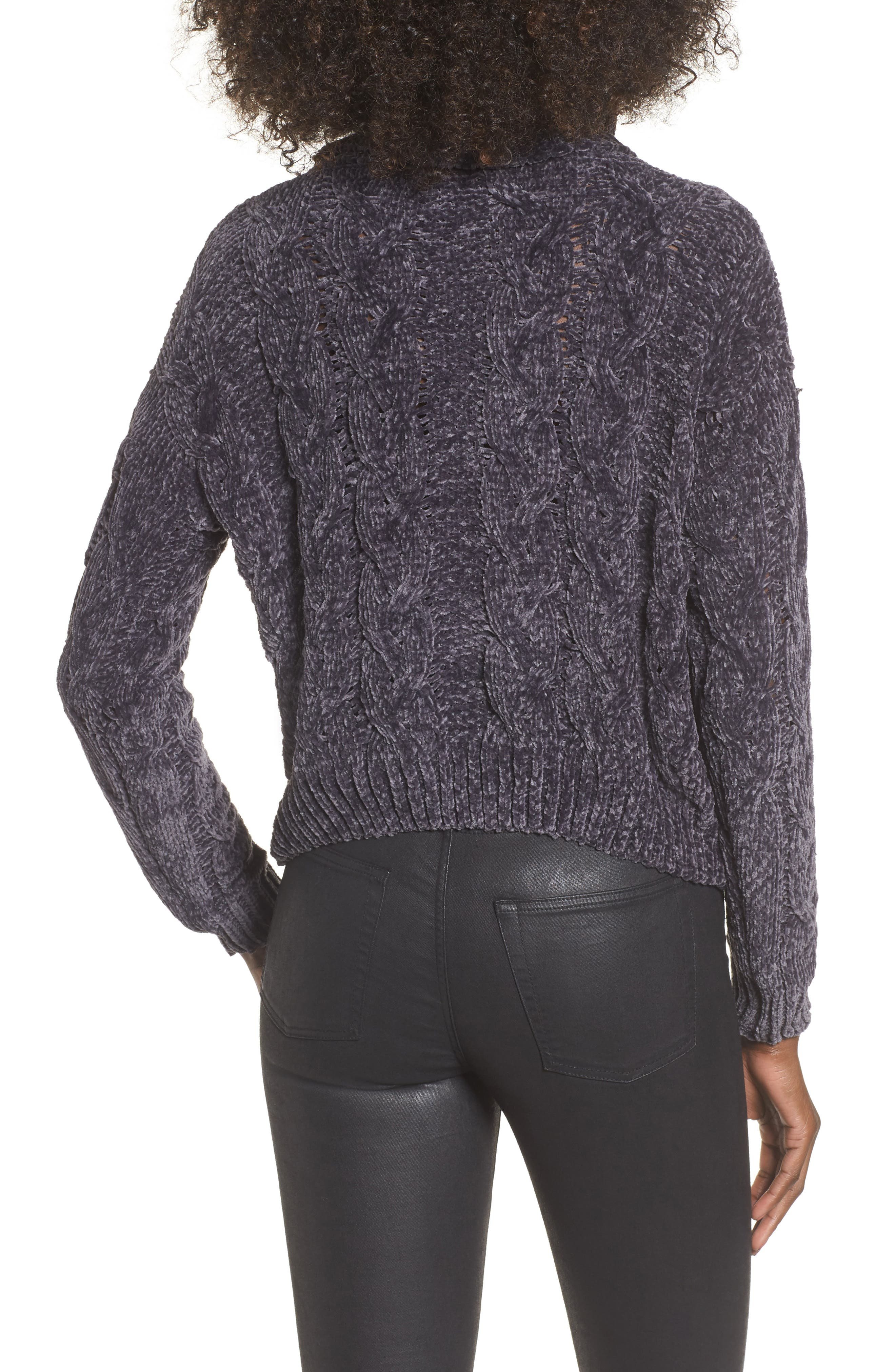 Alternate Image 2  - Woven Heart Chenille Turtleneck Sweater