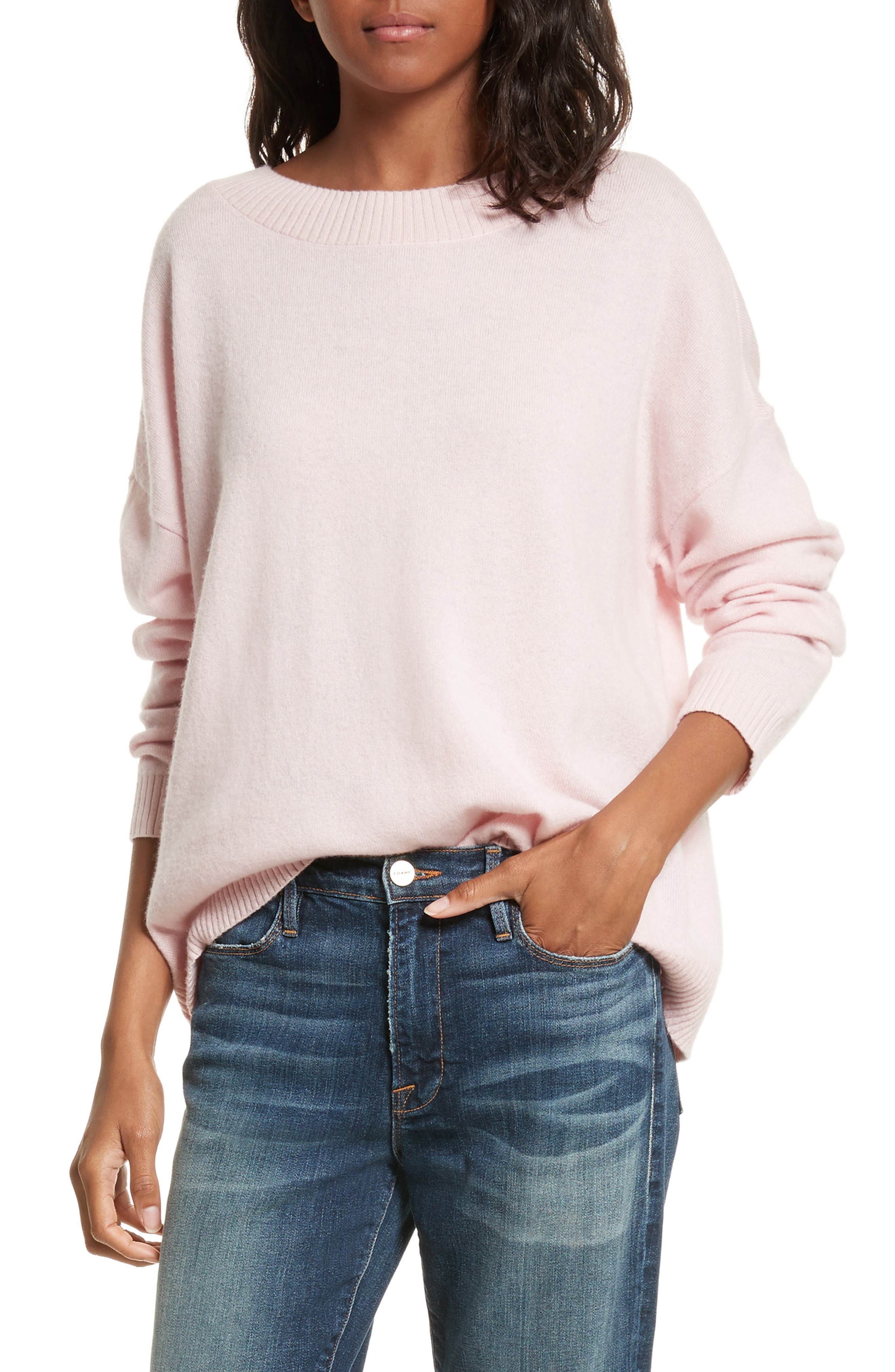 Boyfriend Sweater,                         Main,                         color, Light Pink