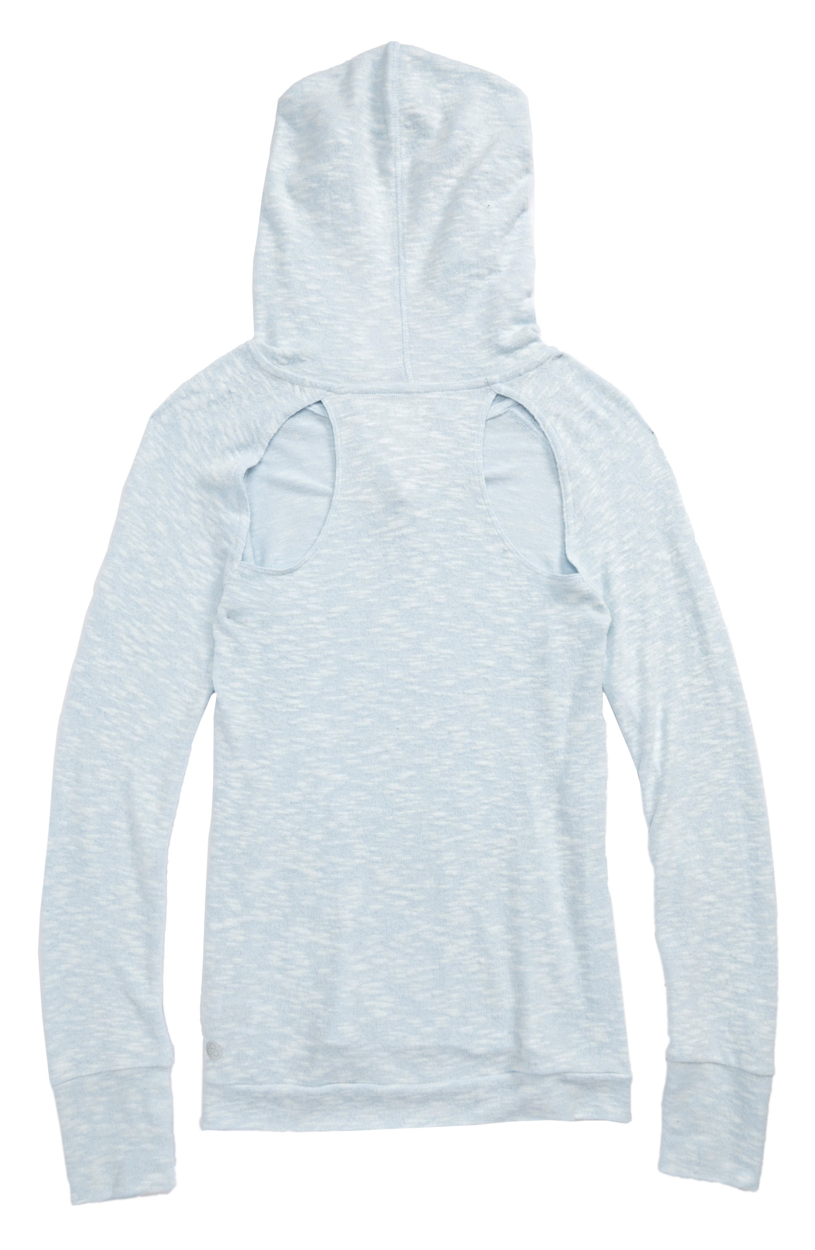 Vinyasa Cutout Hooded Pullover,                             Alternate thumbnail 3, color,                             Blue Omphalodes- White