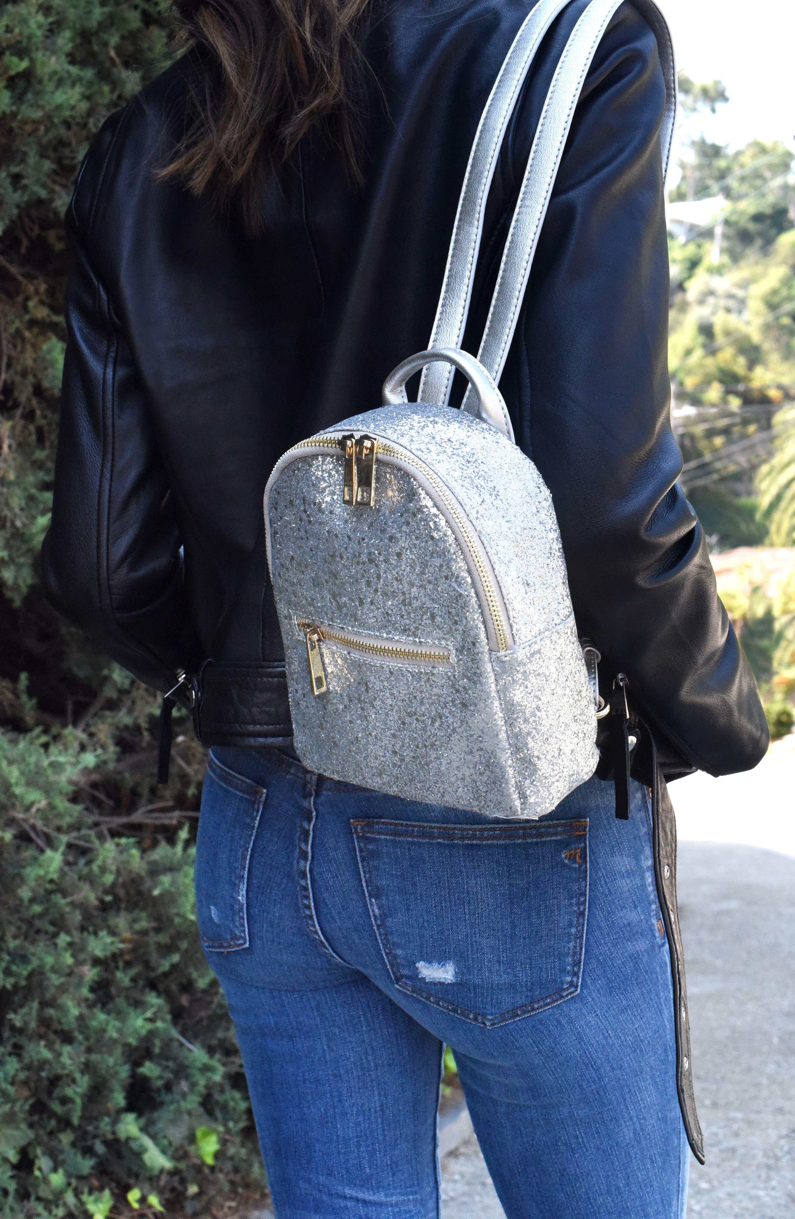 Mali + Lili Glitter Vegan Leather Backpack,                             Alternate thumbnail 8, color,