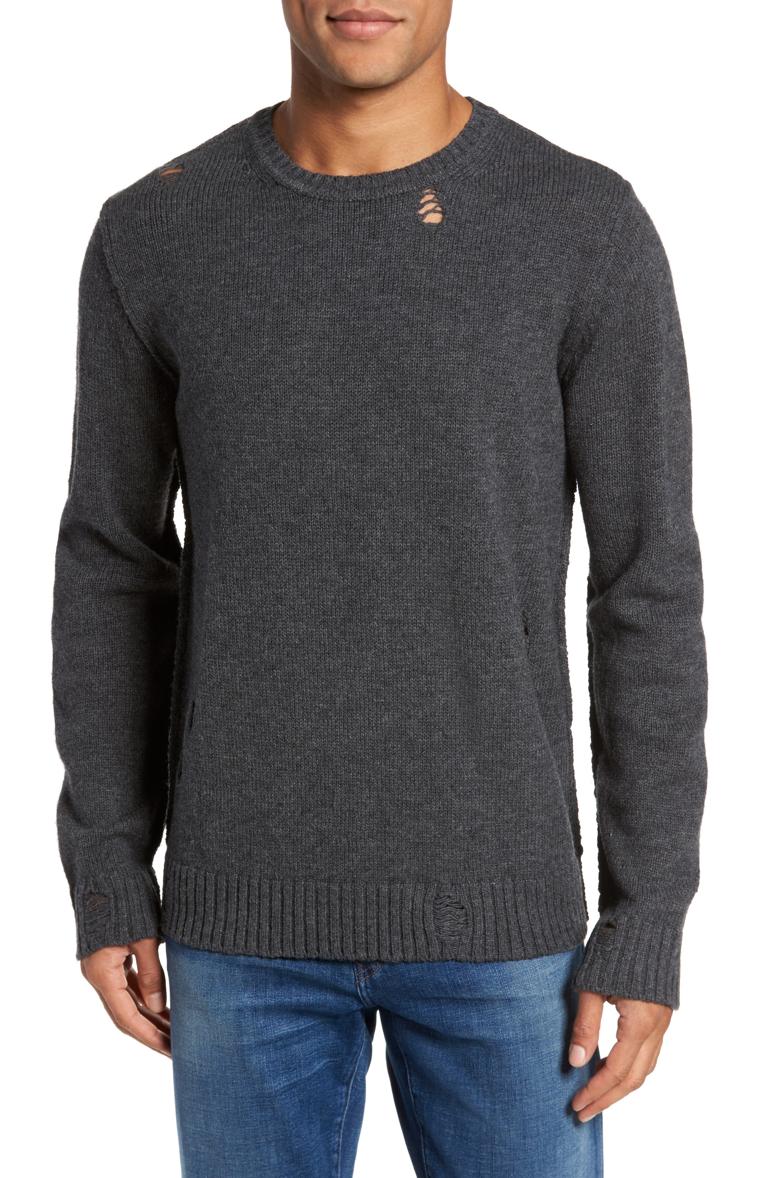 Main Image - AG Thoman Slim Destructed Crew Pullover