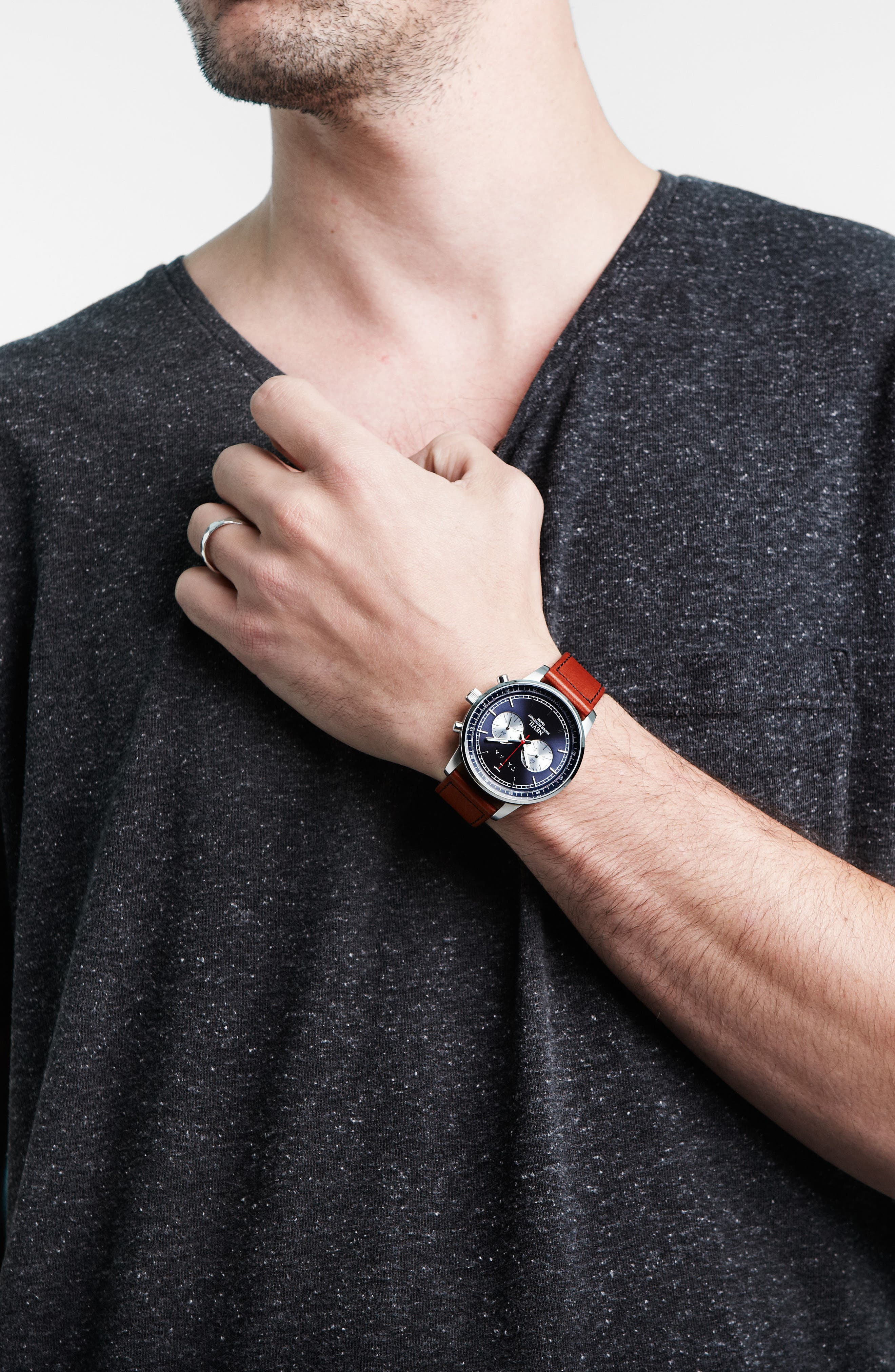 Alternate Image 3  - TRIWA Nevil Chronograph Leather Strap Watch, 42mm