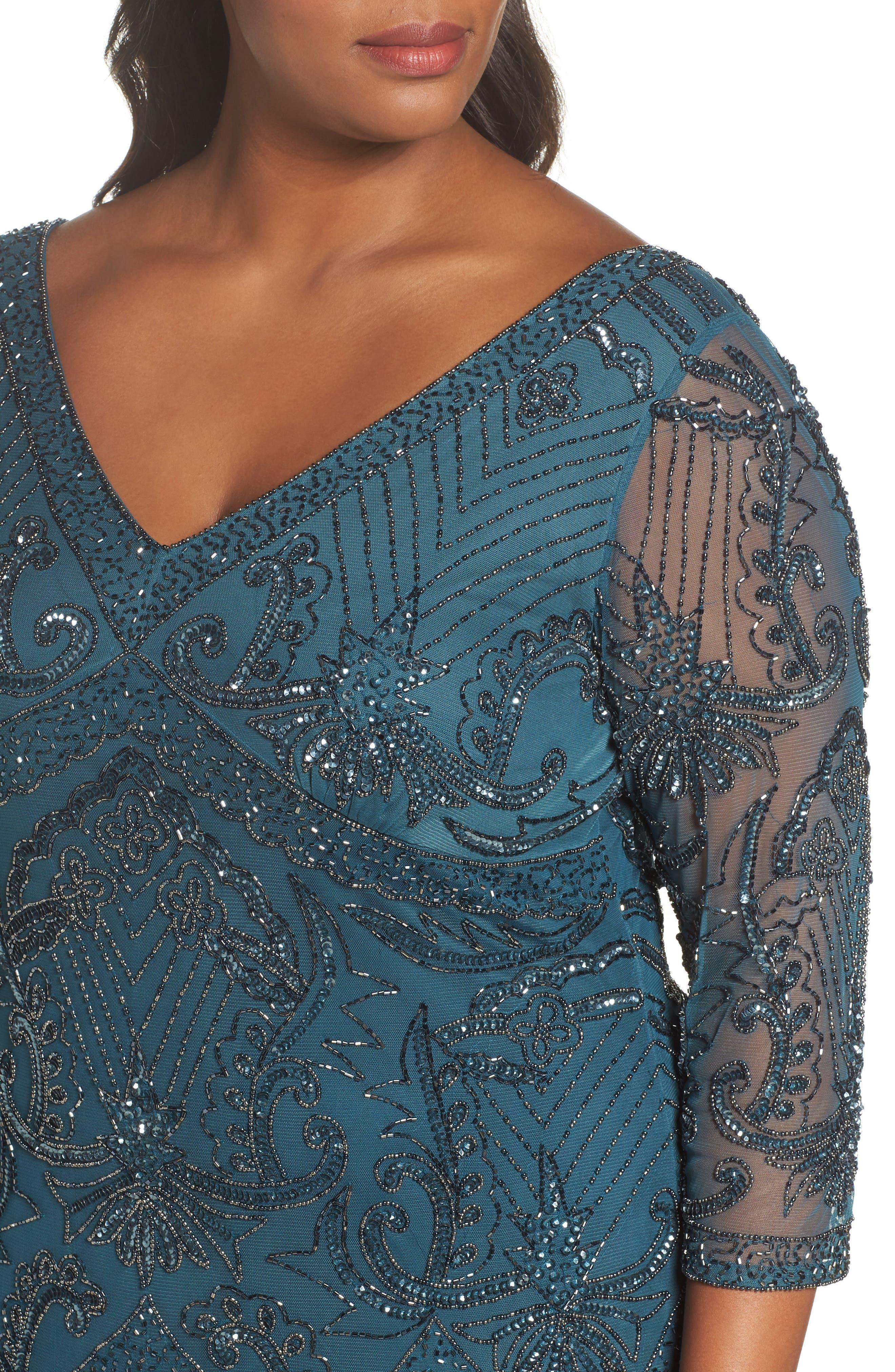 Alternate Image 4  - Pisarro Nights Embellished Double V-Neck Long Dress (Plus Size)