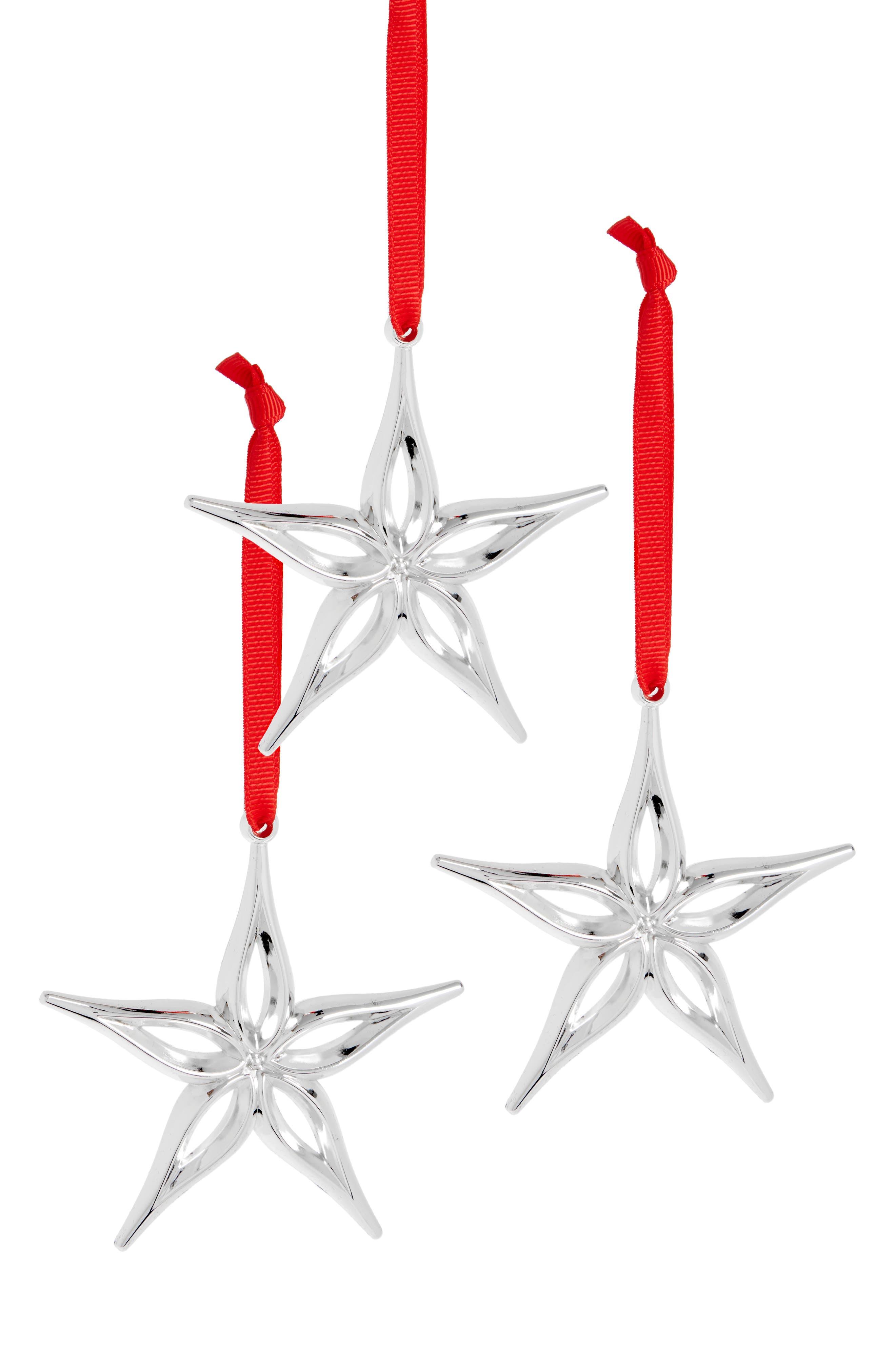 Nambé Set of 3 Star Ornaments