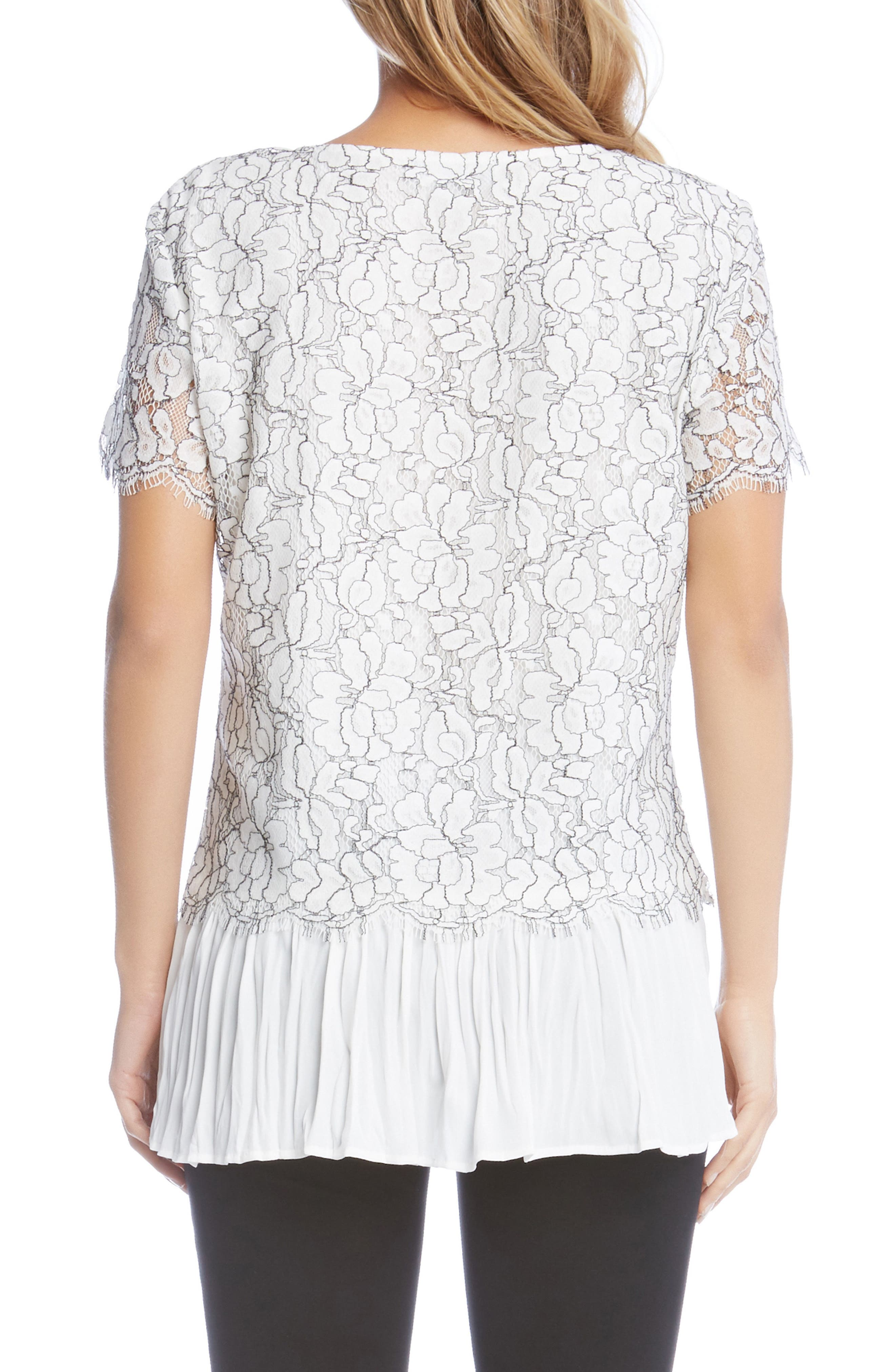 Contrast Hem Lace Top,                             Alternate thumbnail 2, color,                             Cream