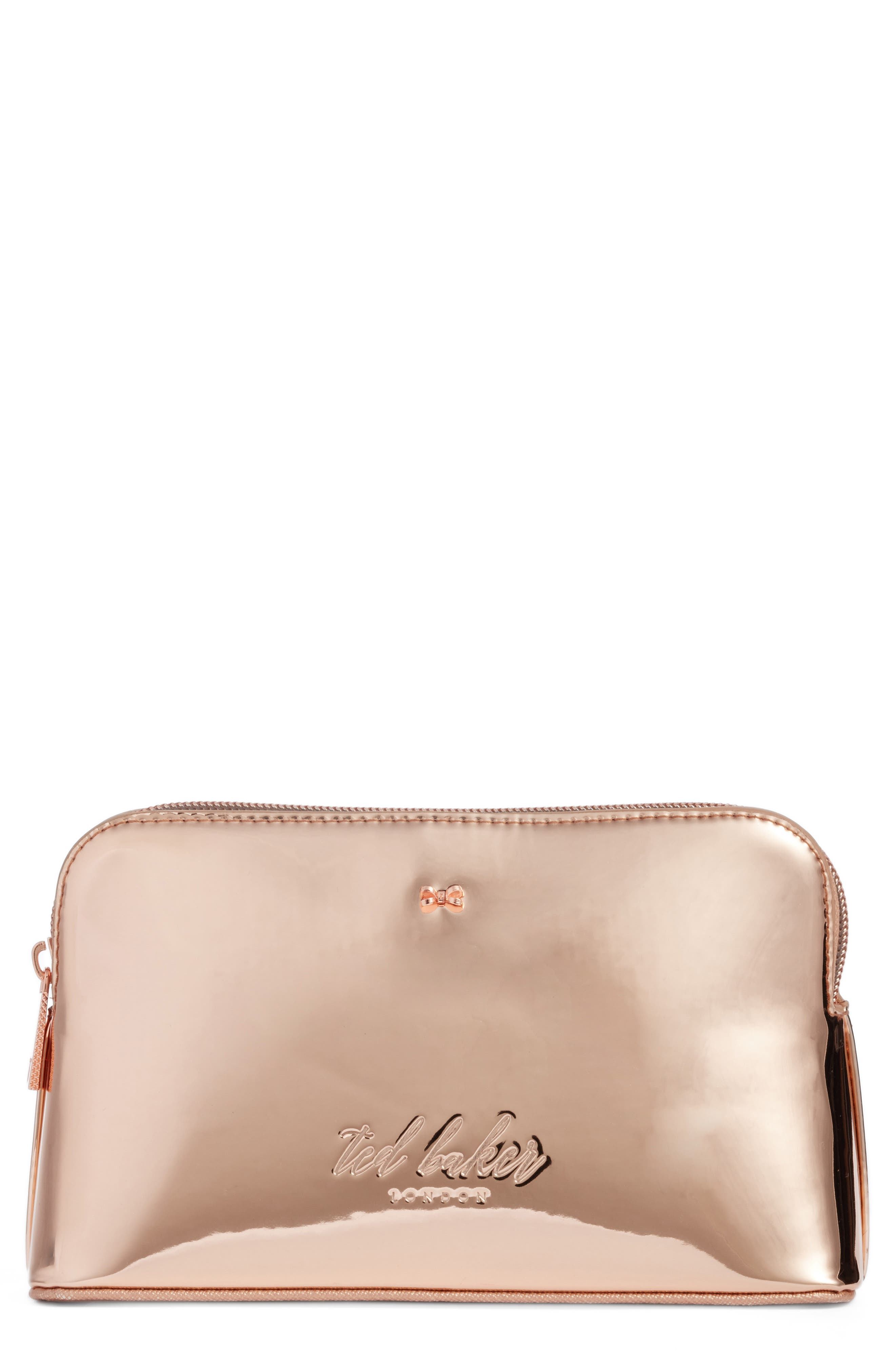 Lindsay Metallic Cosmetics Case,                             Main thumbnail 1, color,                             Rose Gold