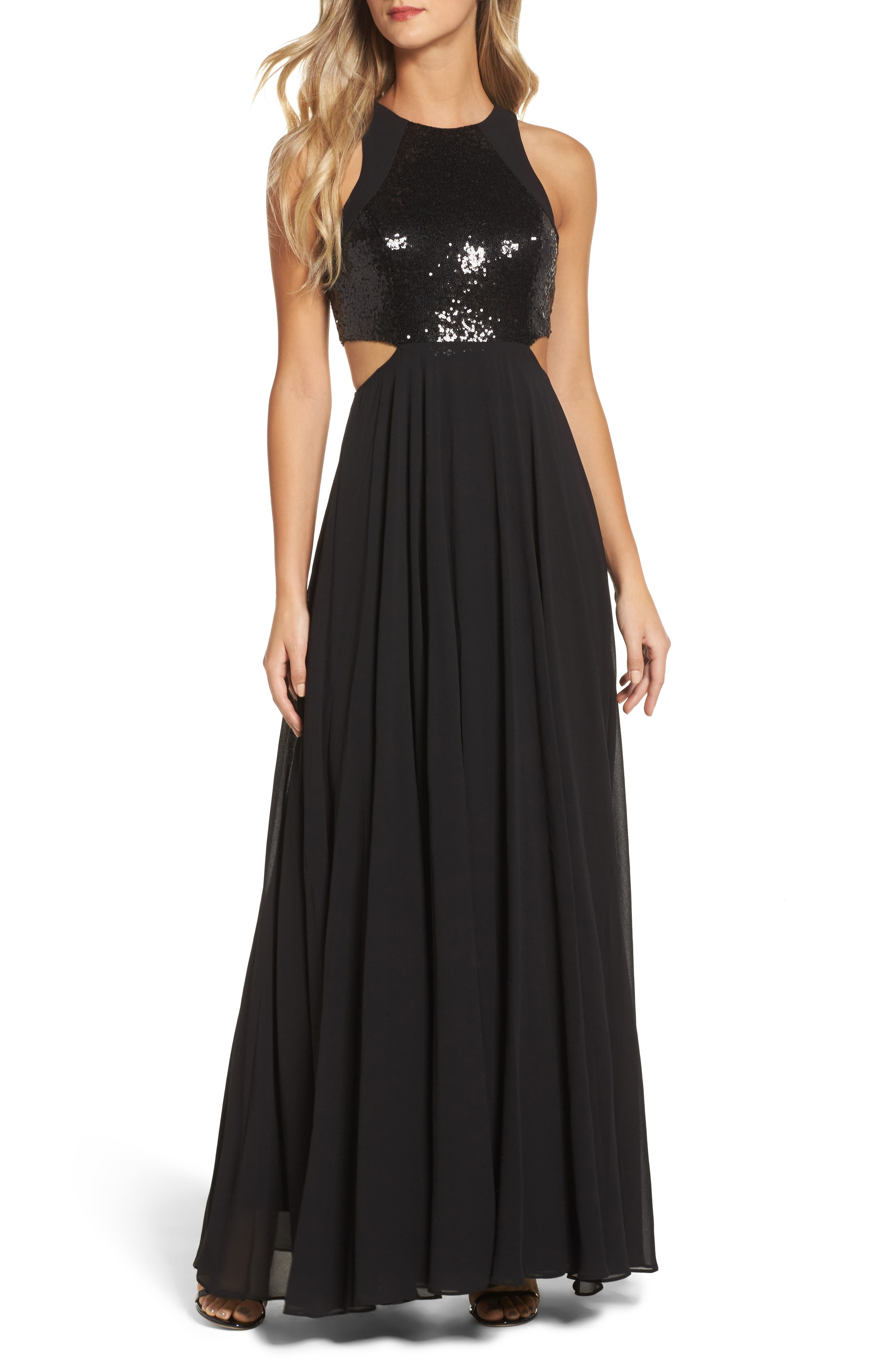 Nothing but Love Sequin Bodice Maxi Dress,                             Main thumbnail 1, color,                             Black