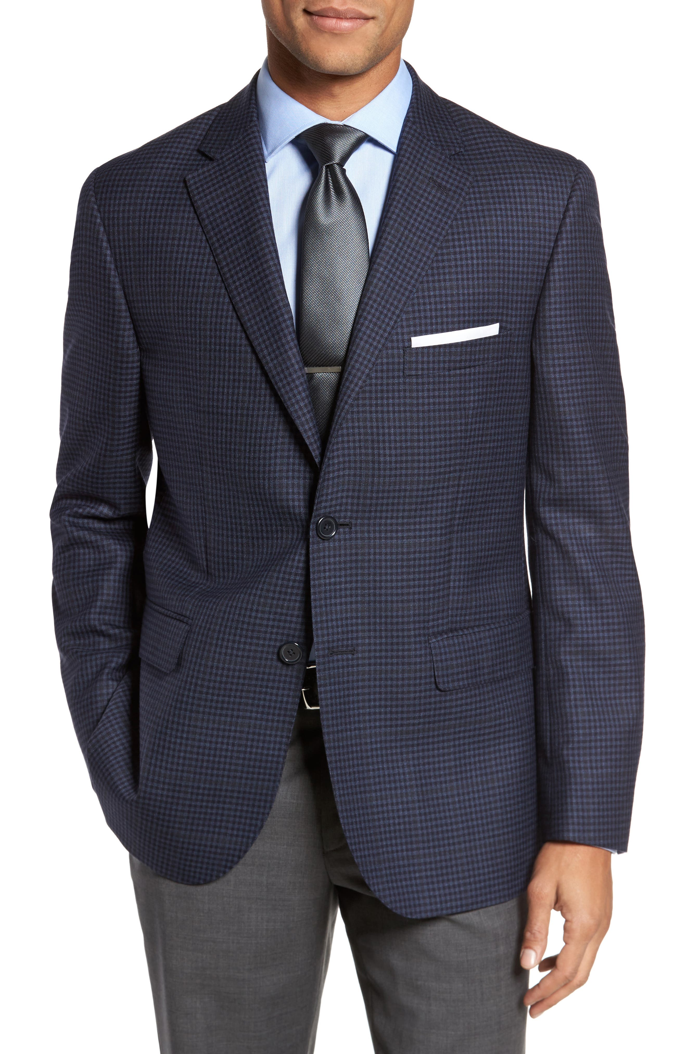 Classic Fit Check Wool Sport Coat,                             Main thumbnail 1, color,                             Navy