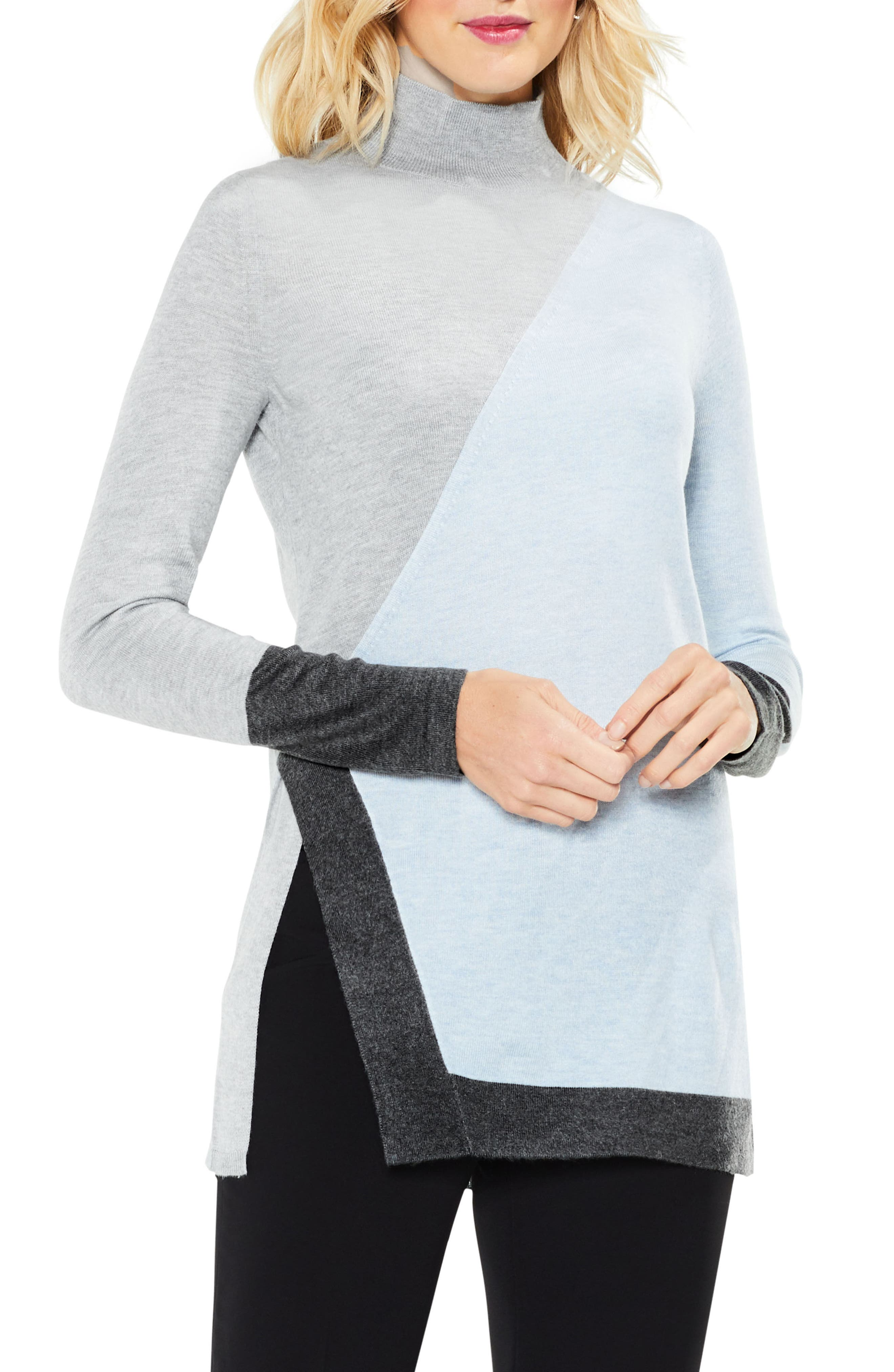 Long Sleeve Colorblocked Turtleneck,                             Main thumbnail 1, color,                             Light Cameo Blue