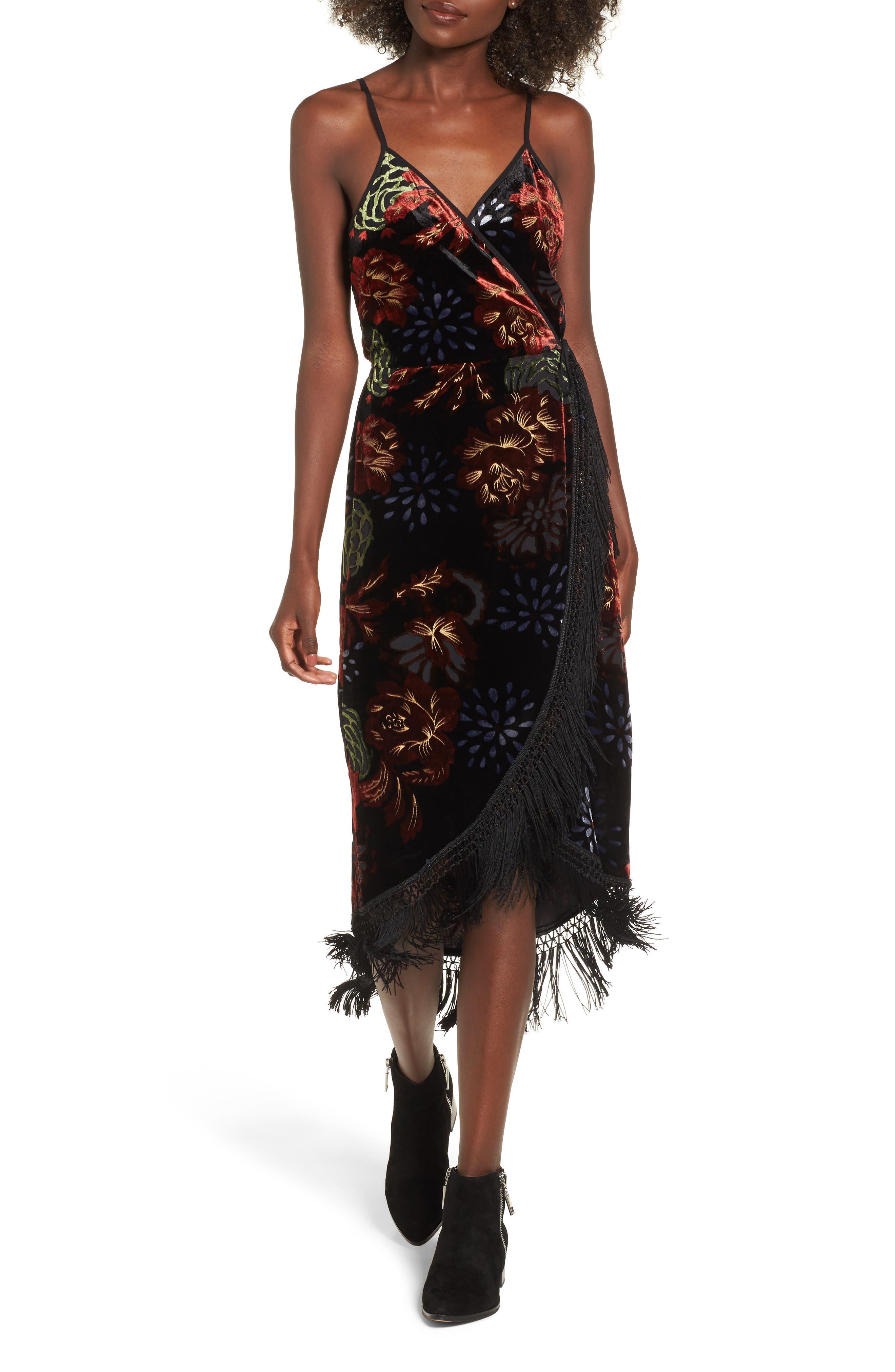 Romantic Burnout Wrap Dress,                             Main thumbnail 1, color,                             Black Brick