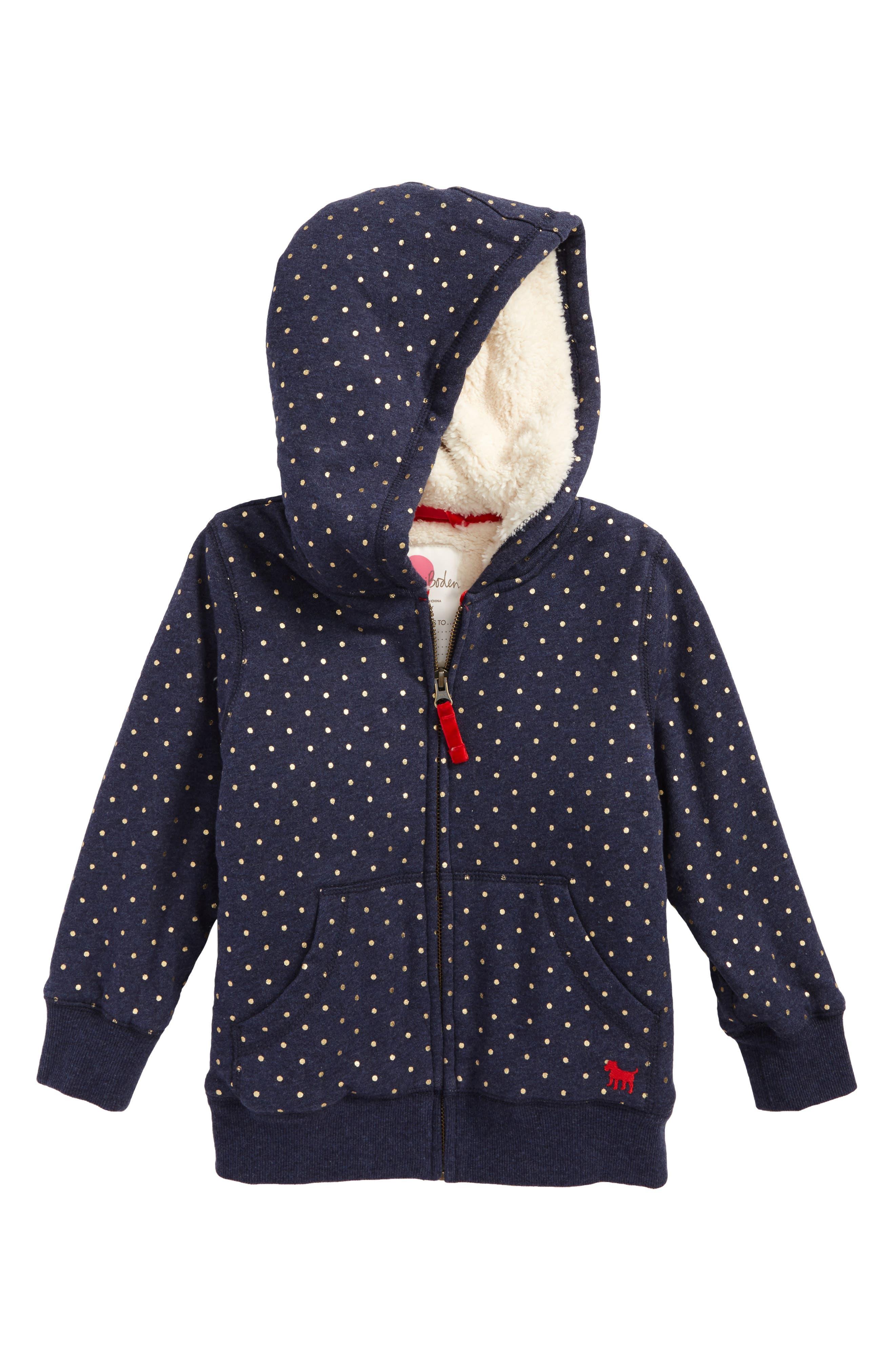 Main Image - Boden Print Shaggy Lined Hoodie (Toddler Girls, Little Girls & Big Girls)